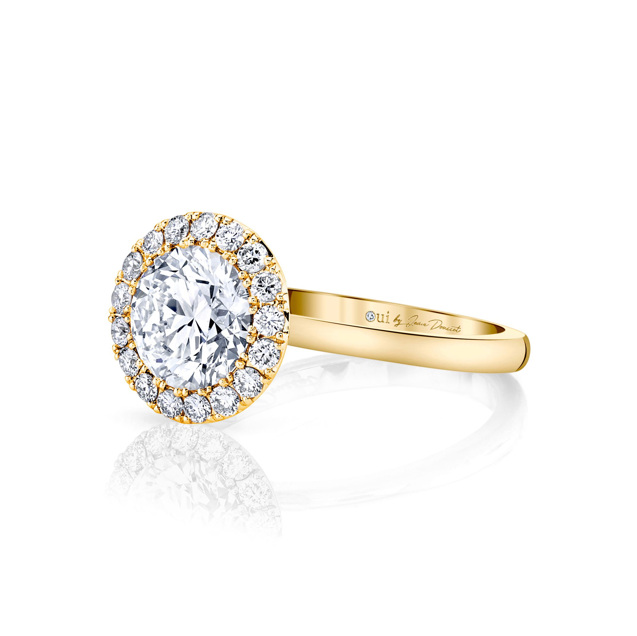 Colette Seamless Halo® Round Brilliant Engagement Ring 18k Yellow Gold Side Shot