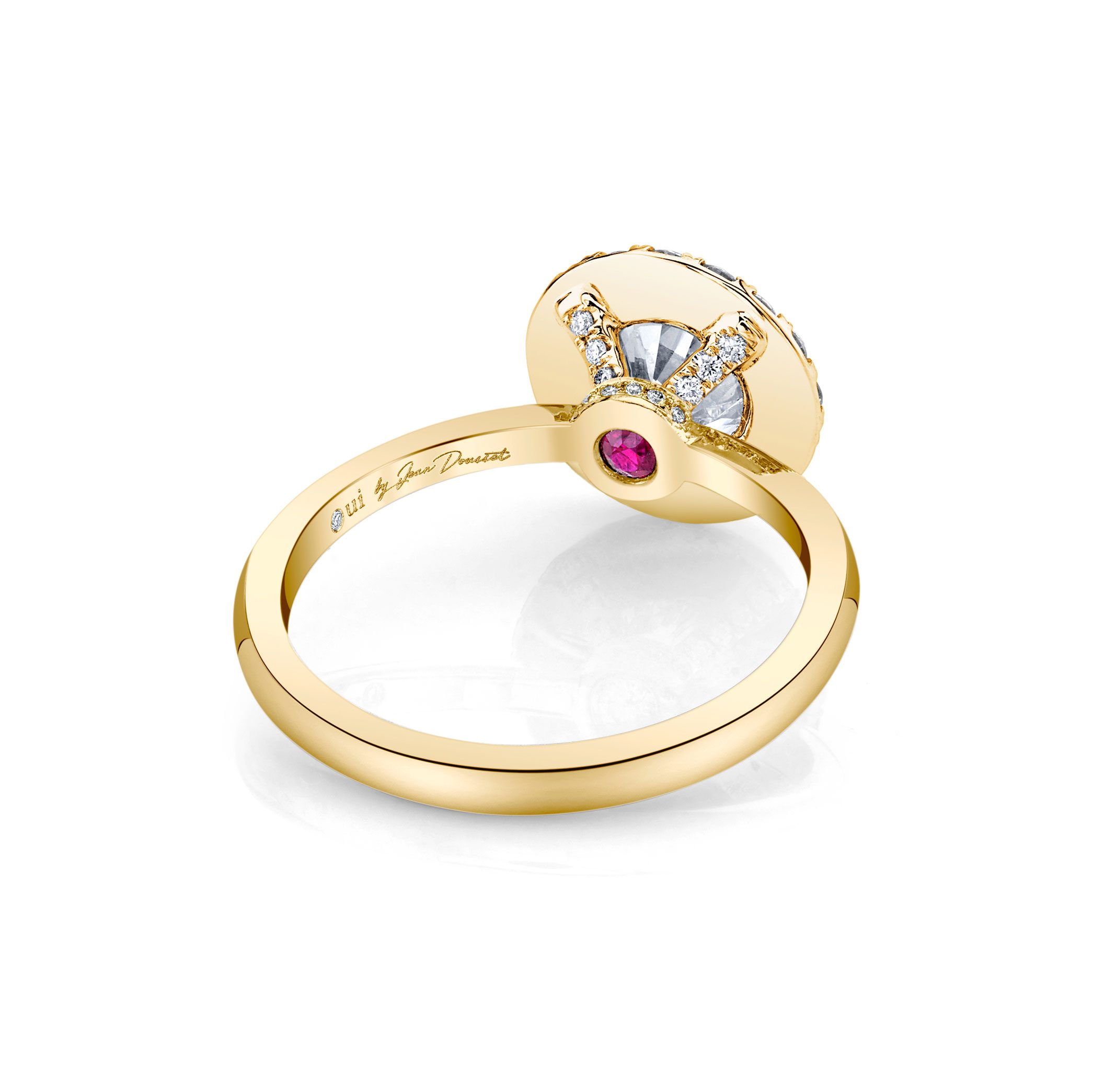 Colette Seamless Halo® Round Brilliant Engagement Ring 18k Yellow Gold Back Shot