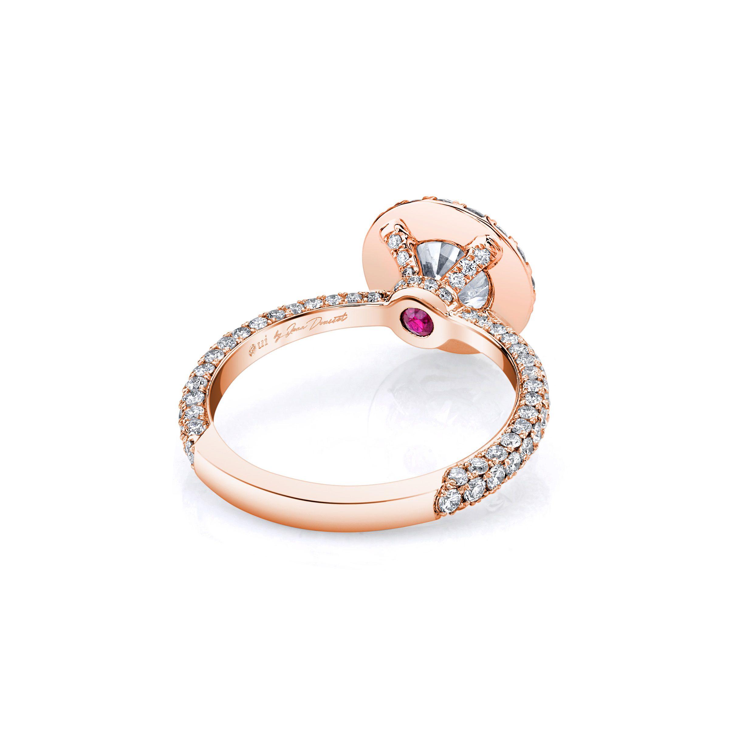 Jacqueline Seamless Halo® Round Brilliant Engagement Ring 18k Rose Gold Back Shot