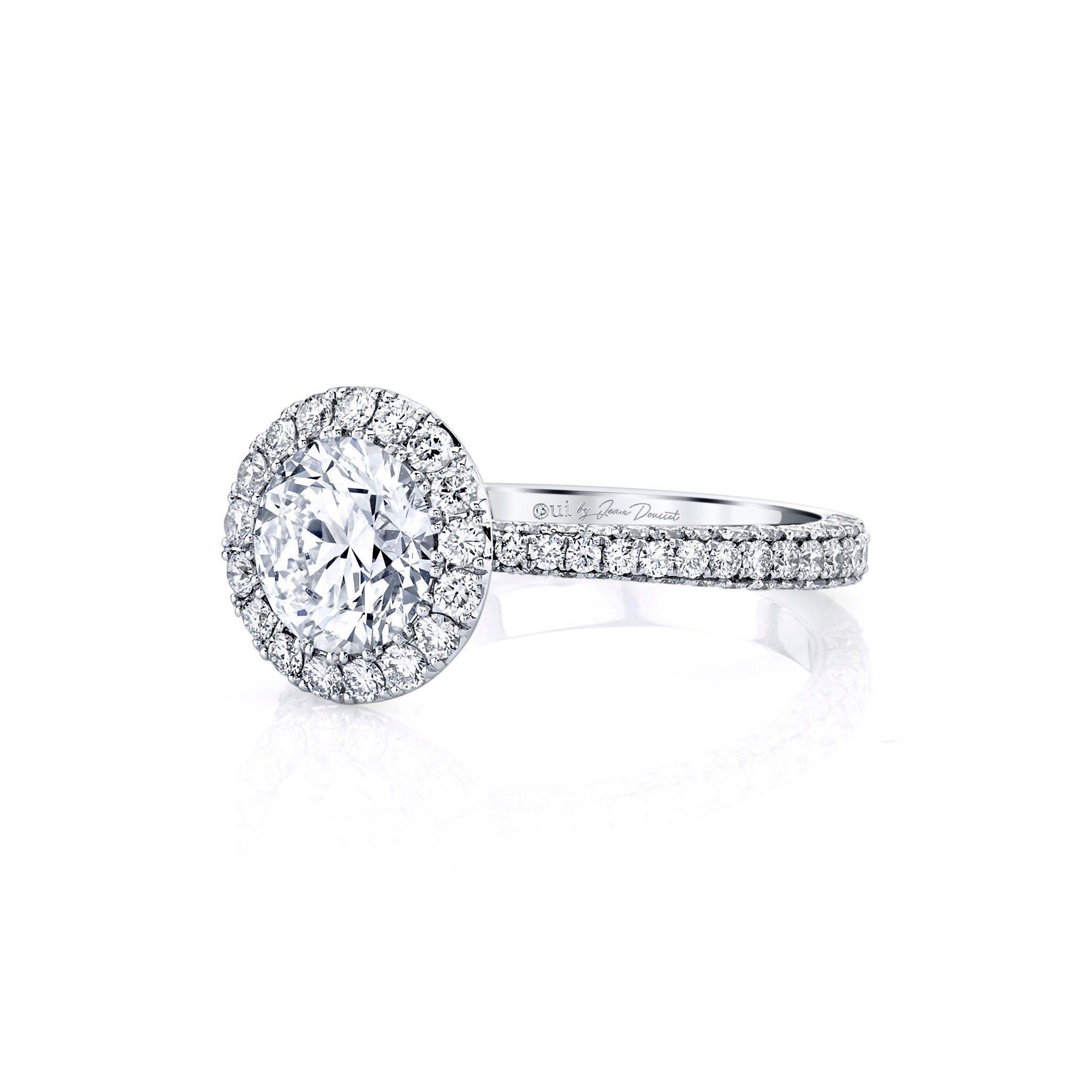Jacqueline Seamless Halo® Round Brilliant Engagement Ring 18k White Gold Side Shot