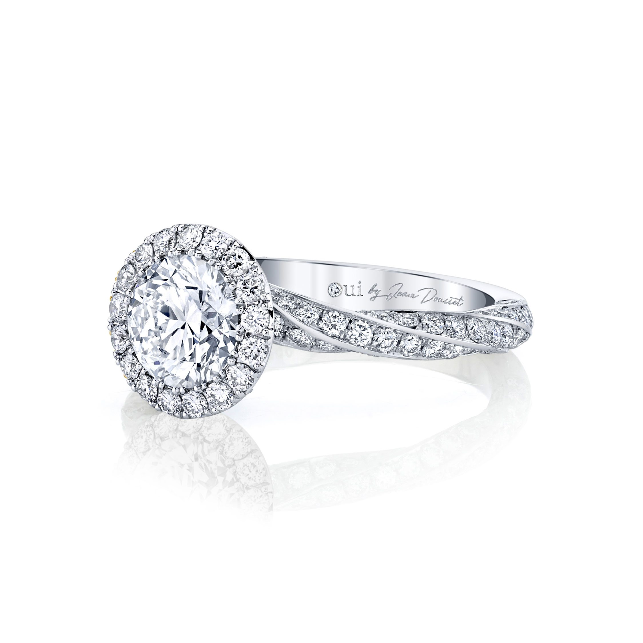 Camille Seamless Halo® Round Brilliant Engagement Ring 18k White Gold Side Shot