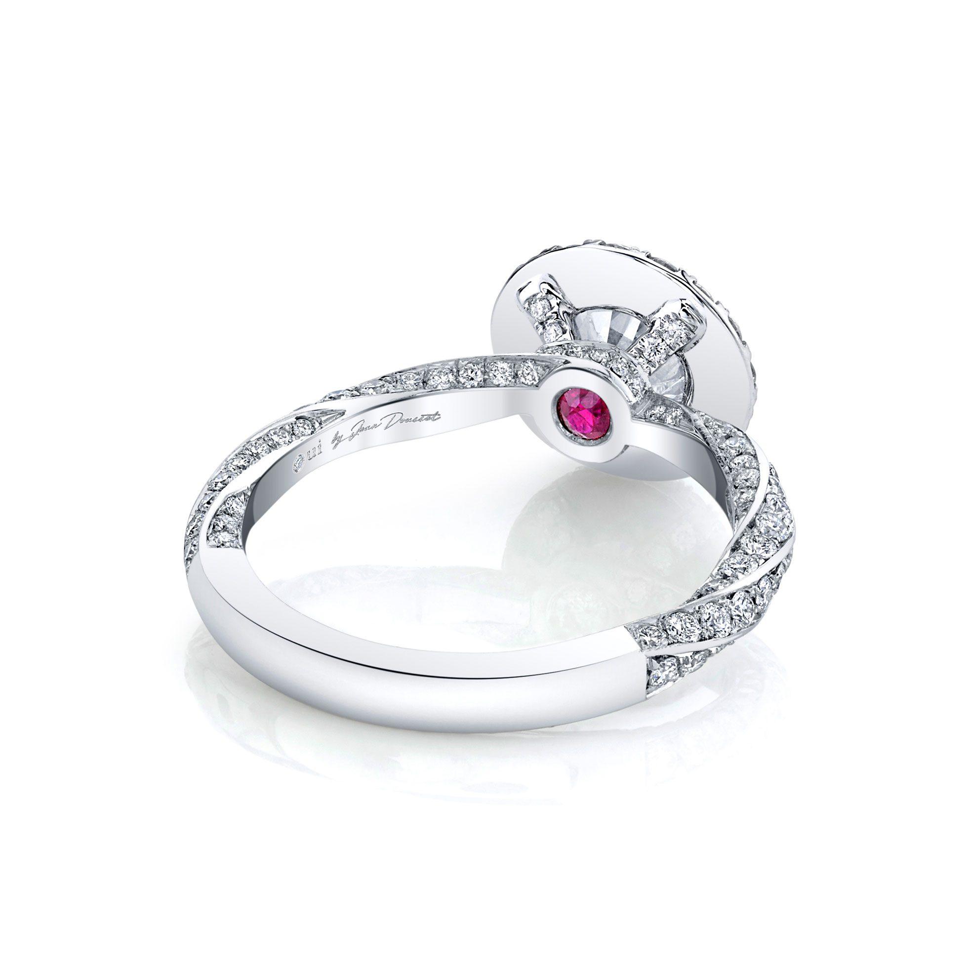 Camille Seamless Halo® Round Brilliant Engagement Ring 18k White Gold Back Shot