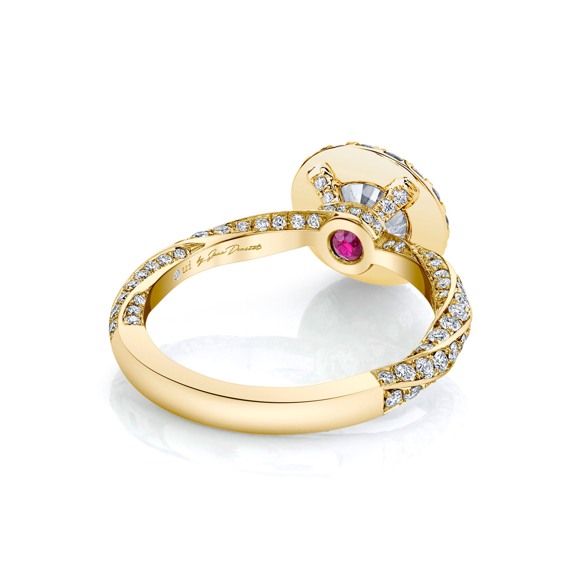 Camille Seamless Halo® Round Brilliant Engagement Ring 18k Yellow Gold Back Shot