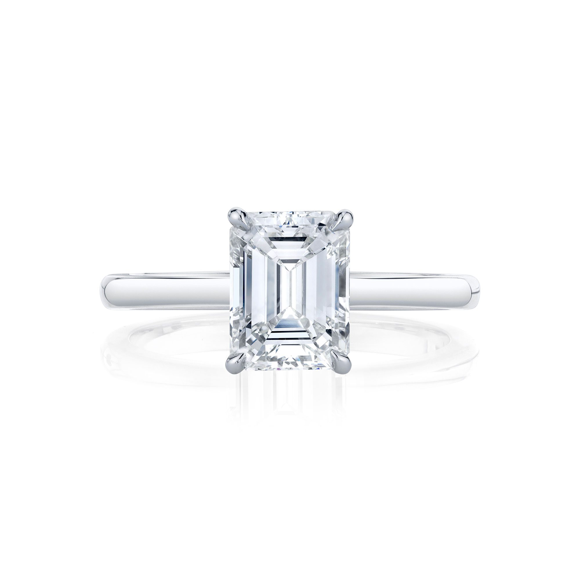 Colette Emerald Solitaire Engagement Ring with a sold band in 18k White Gold Front Shot by Oui by Jean Dousset