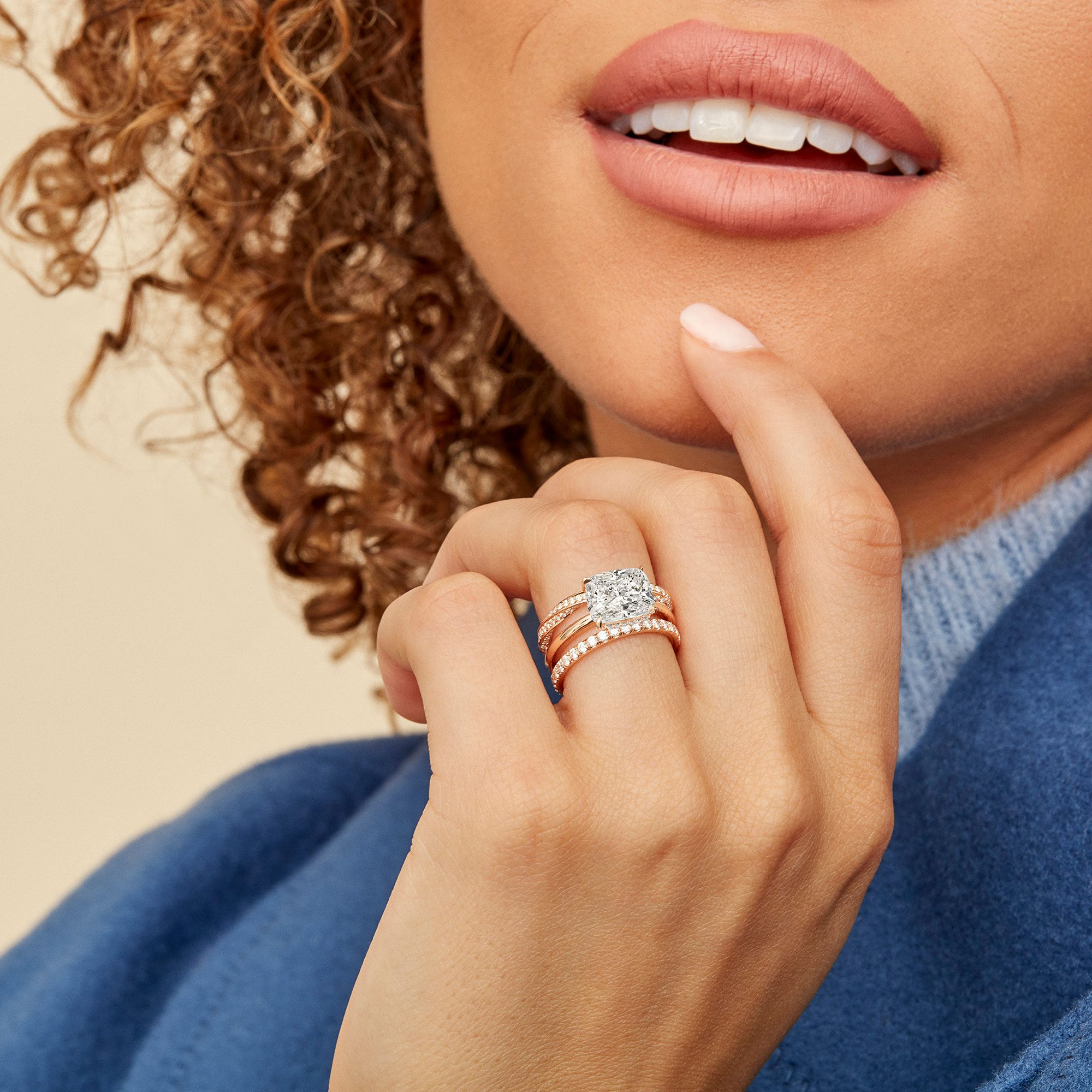 Colette Lab Diamond Engagement Ring in Cushion Cut from Oui by Jean Dousset