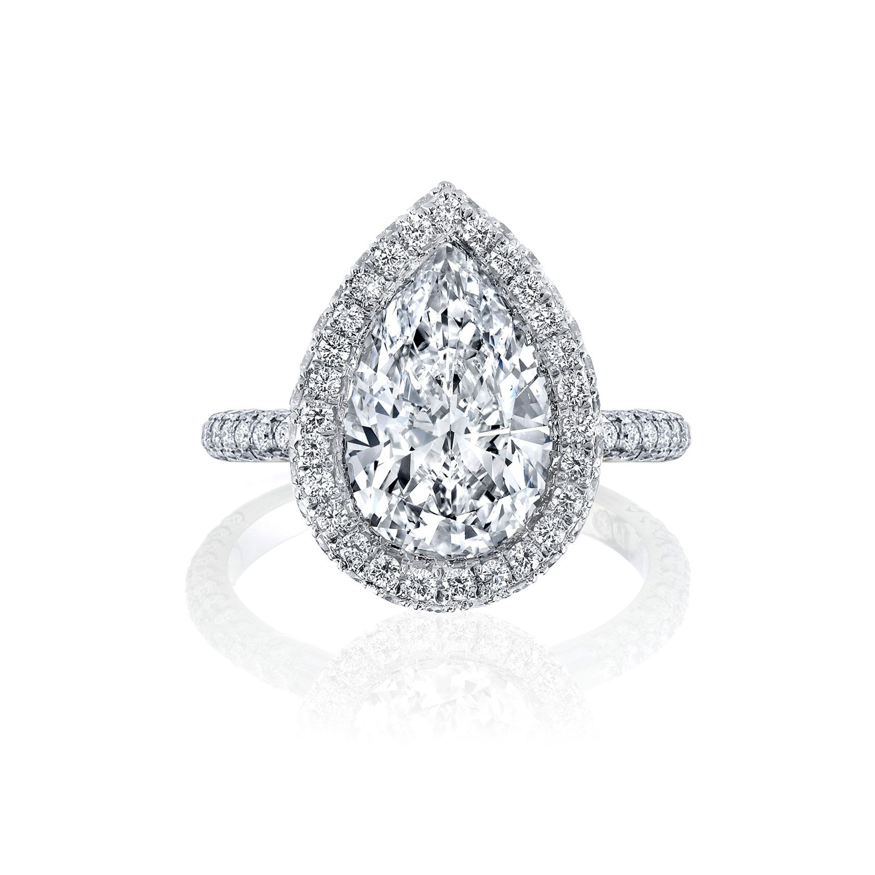 Jacqueline Seamless Halo® Engagement Ring with Lab Grown Pear Cut Diamond in 18k white gold