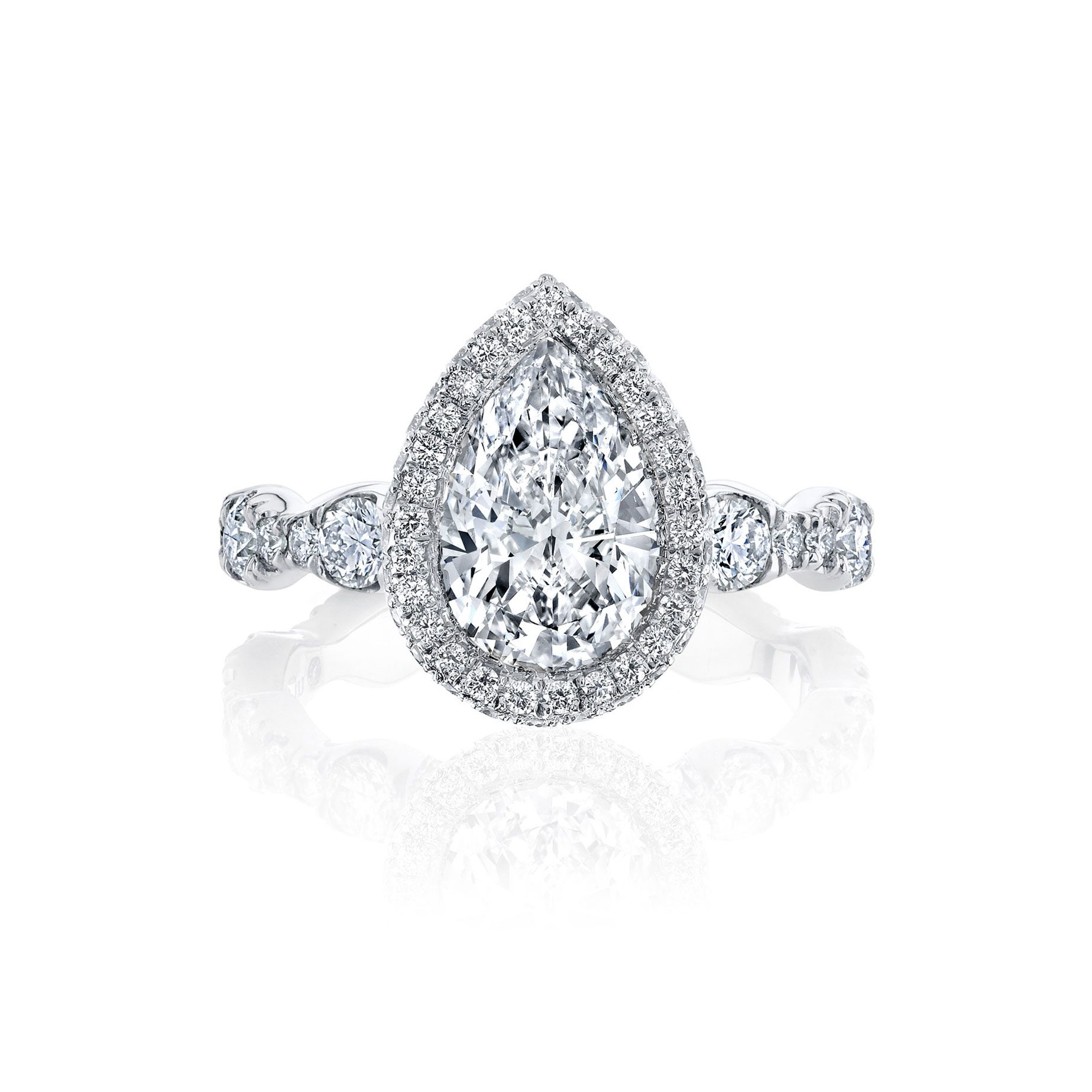 Yvonne Seamless Halo® Engagement Ring with Lab Grown Pear Cut Diamond in 18k white gold