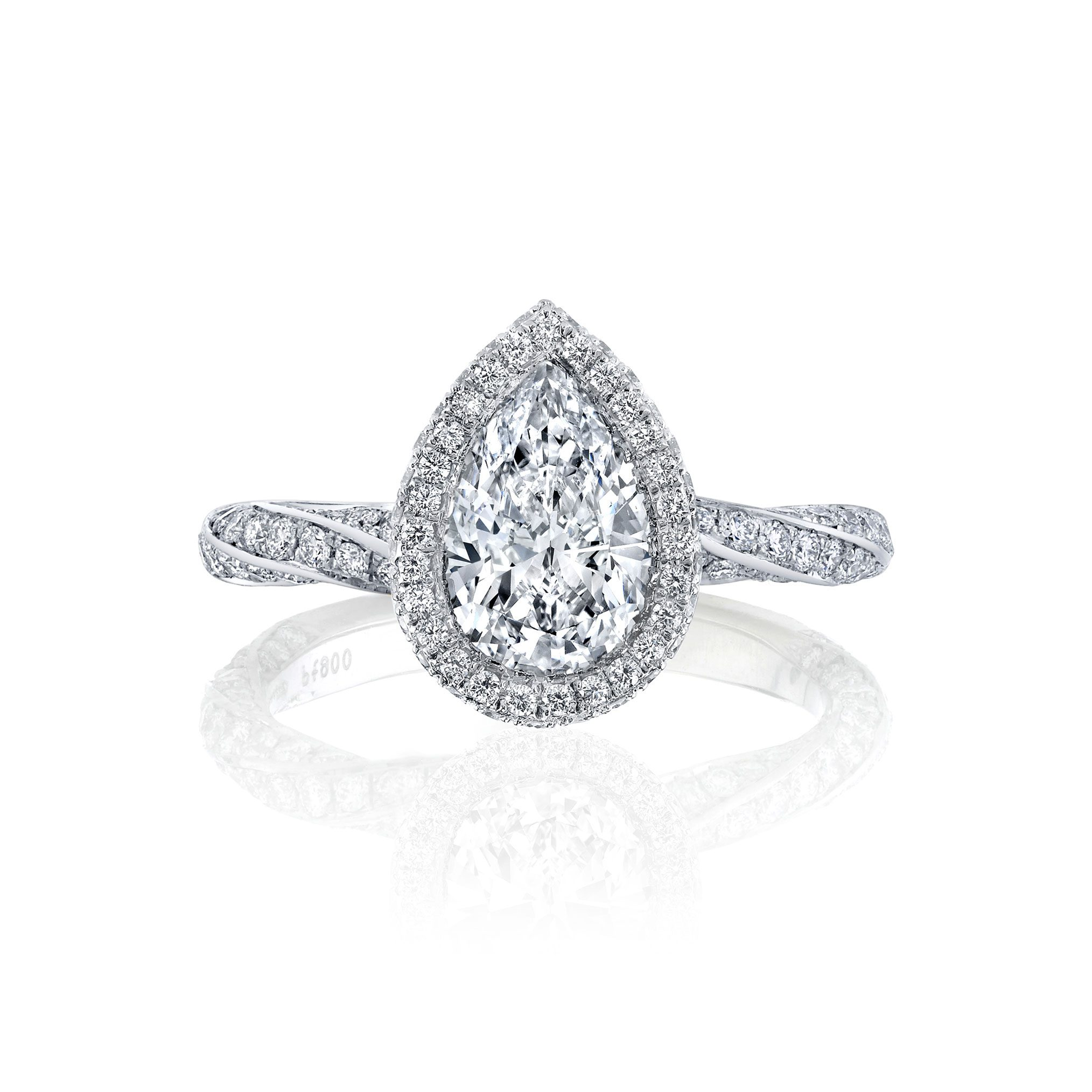 Camille Seamless Halo® Pear Cut Engagement Ring with Twist Pavé Band in 18k white gold