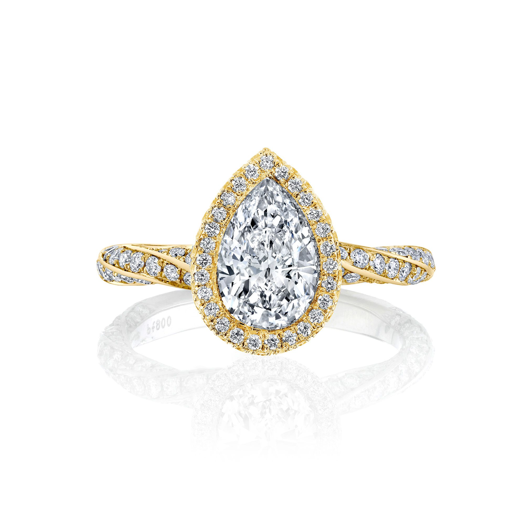 Camille Seamless Halo® Pear Cut Engagement Ring with Twist Pavé Band in 18k yellow gold