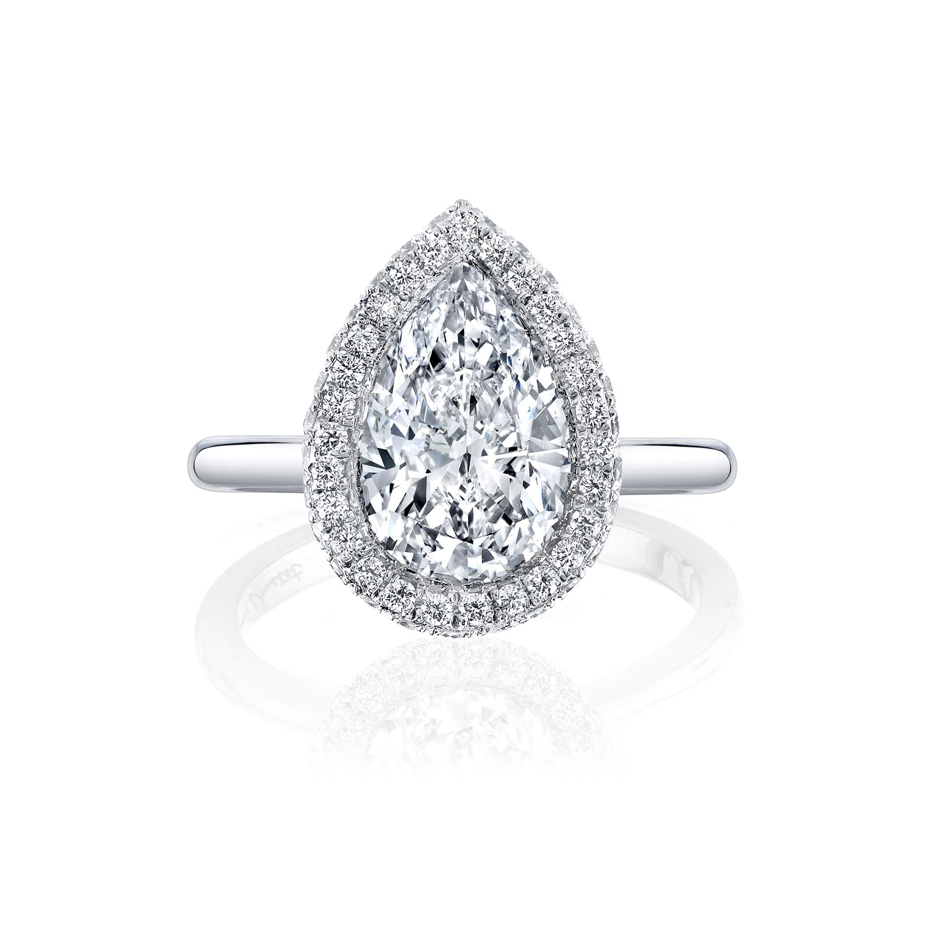 Colette Seamless Halo® Pear Cut Engagement Ring White Gold Solid Band