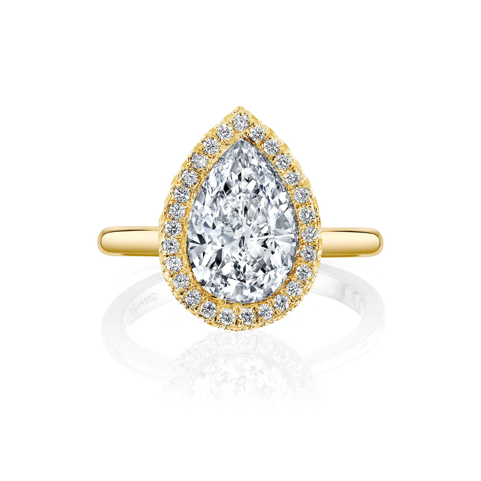 Colette Seamless Halo® Pear Cut Engagement Ring Yellow Gold Solid Band