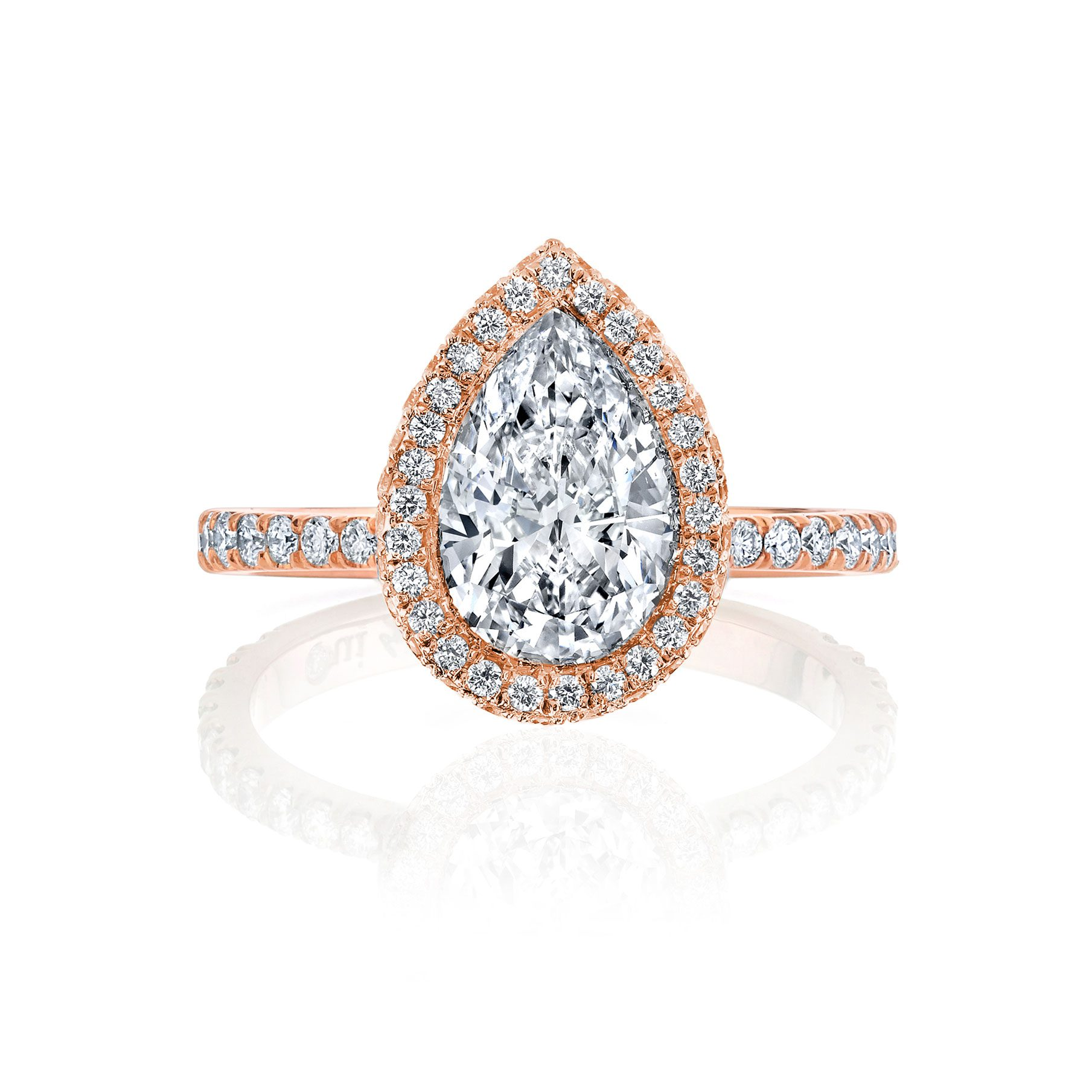 Eloise Seamless Halo® Pear Cut Engagement Ring One Row Pavé Band in 18k Rose Gold