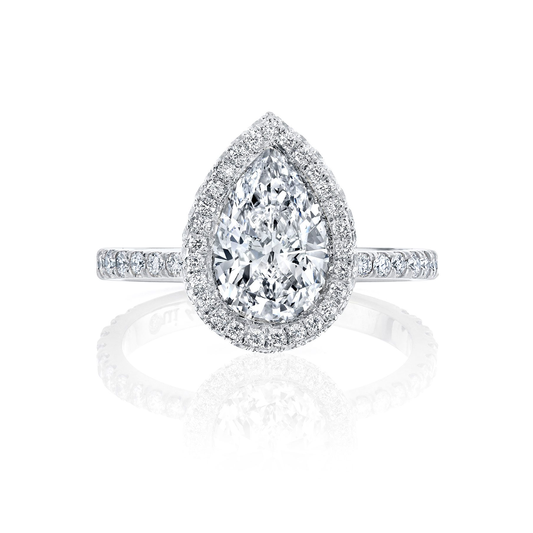 Eloise Seamless Halo® Pear Cut Engagement Ring One Row Pavé Band in White Gold