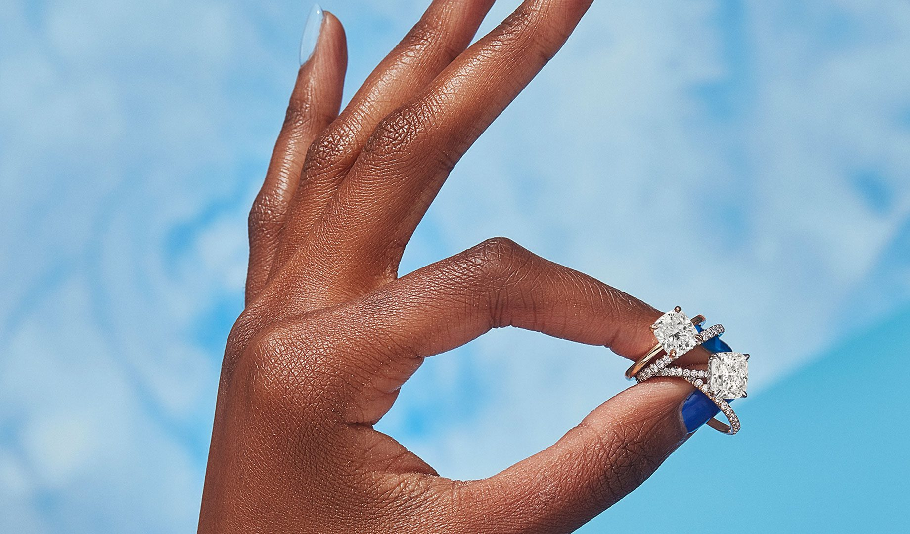 Eloise and Colette Lab Diamond Engagement Rings in Cushion Cut from Oui by Jean Dousset