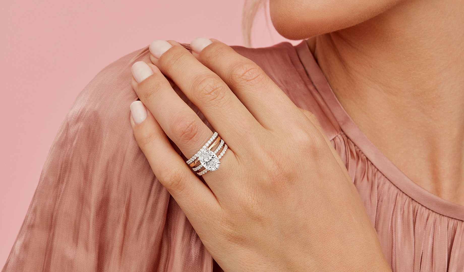 Eloise Oval Cut Lab Grown Diamond Engagement Ring on Hand from Oui by Jean Dousset