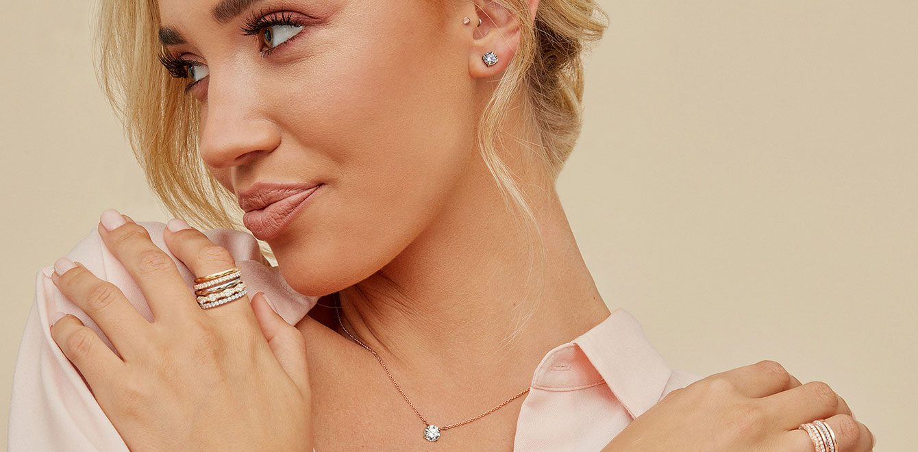 Lab Grown and Natural Diamond Jewelry on Model