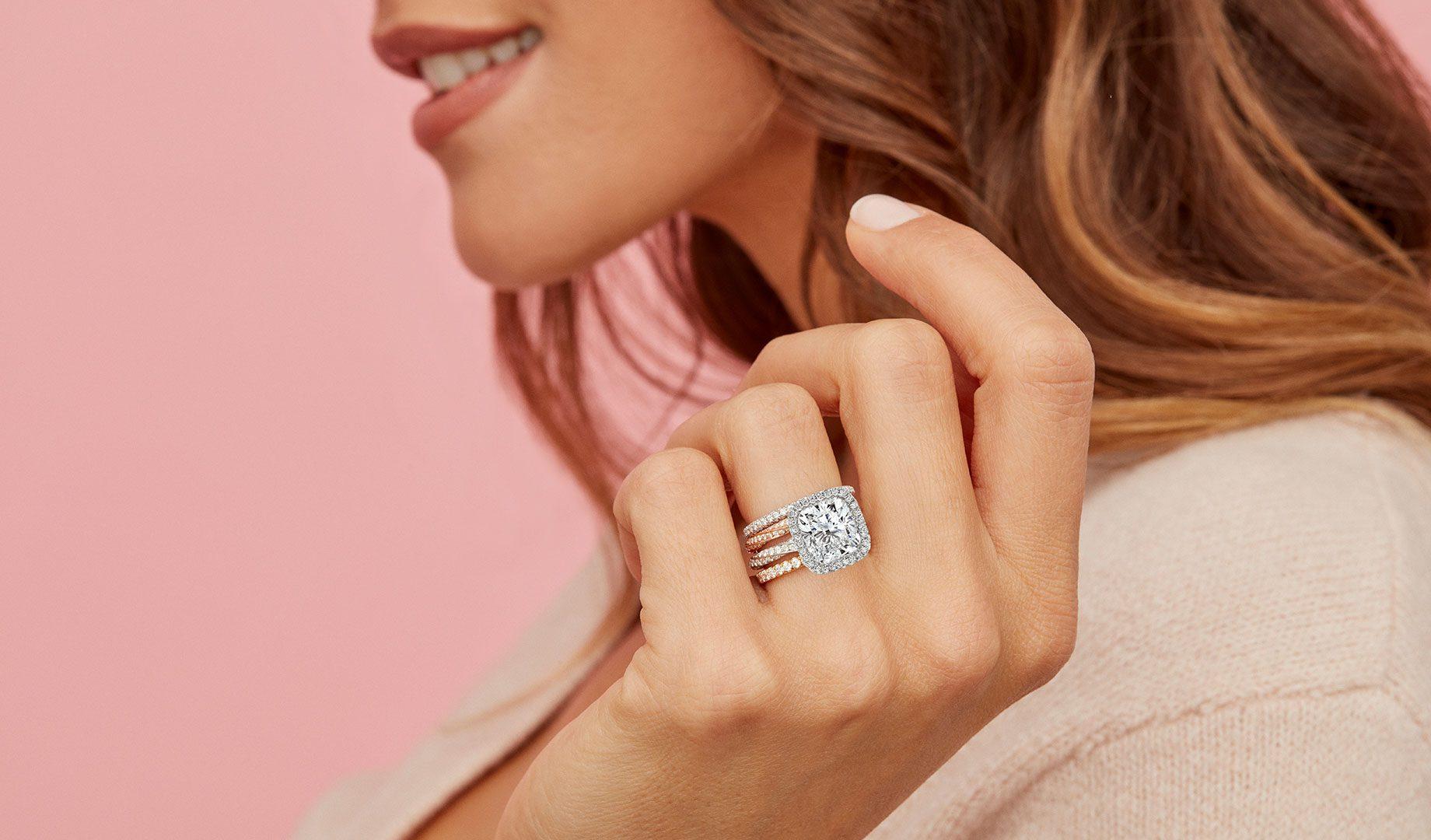 Camille Cushion Lab Grown Diamond Ring on Hand Model