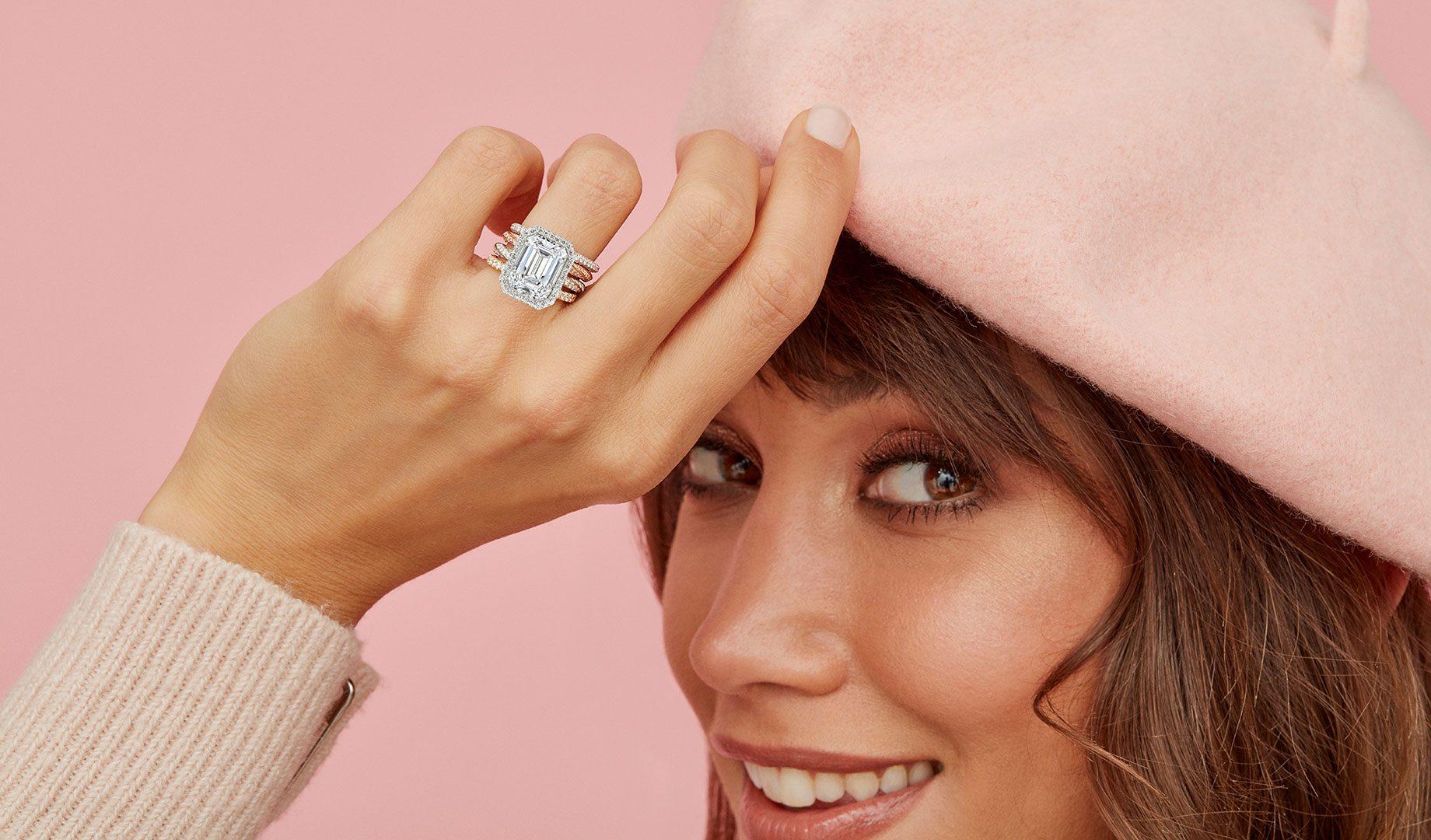Camille Emerald Lab Grown Diamond Ring on Model