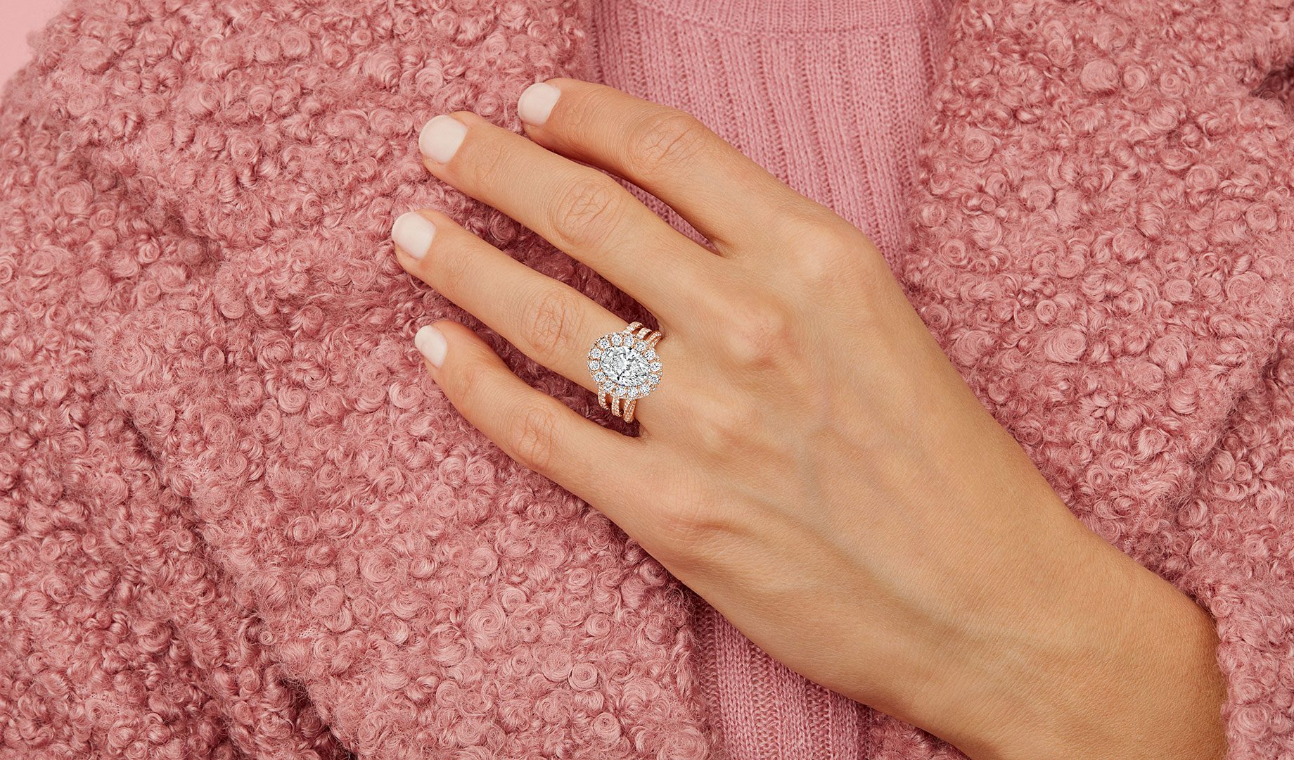 Eloise Oval Lab Grown Ring on Hand Model