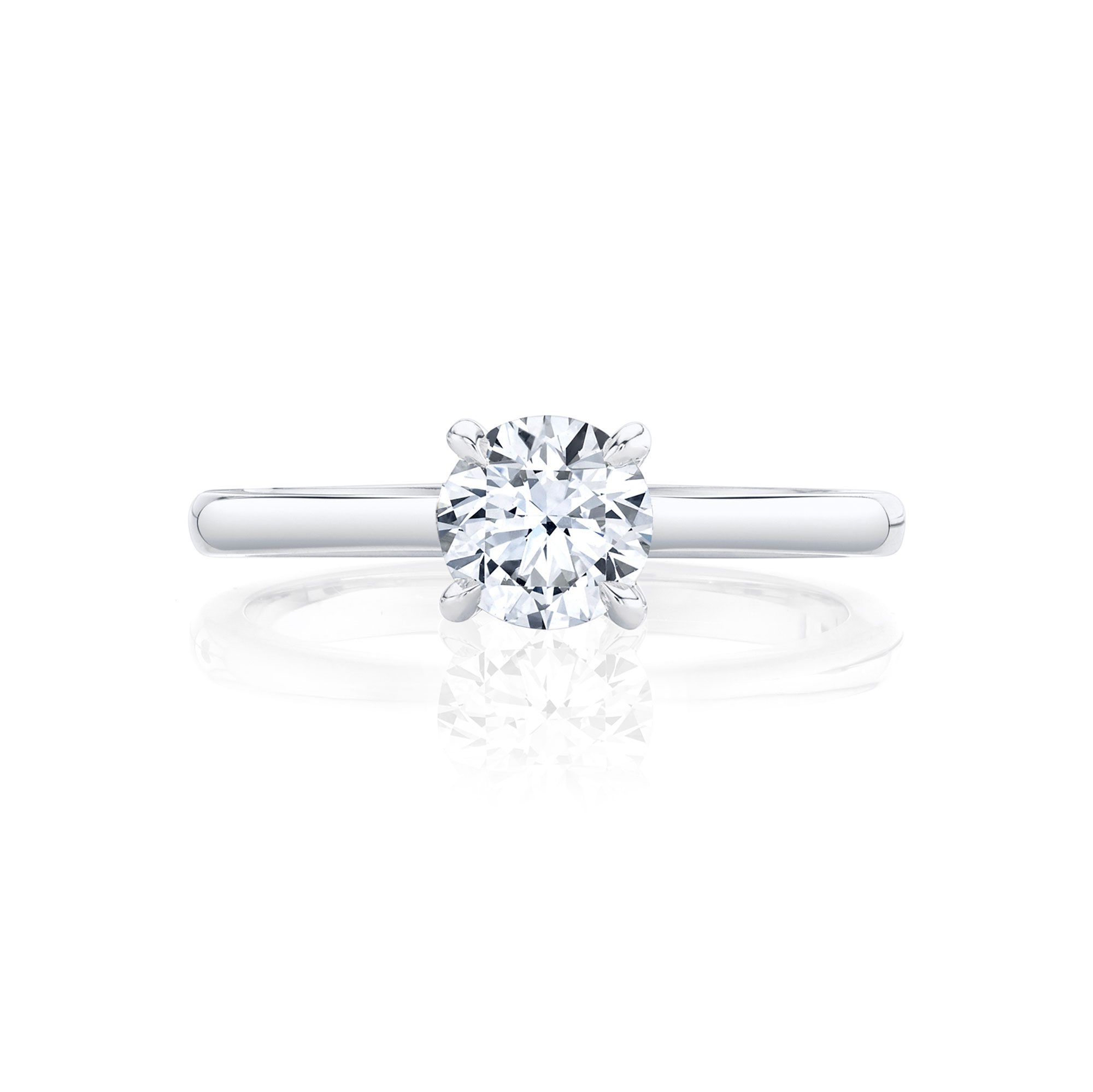 Colette Round Brilliant Solitaire Engagement Ring with a sold band in 18k White Gold Front View by Oui by Jean Dousset