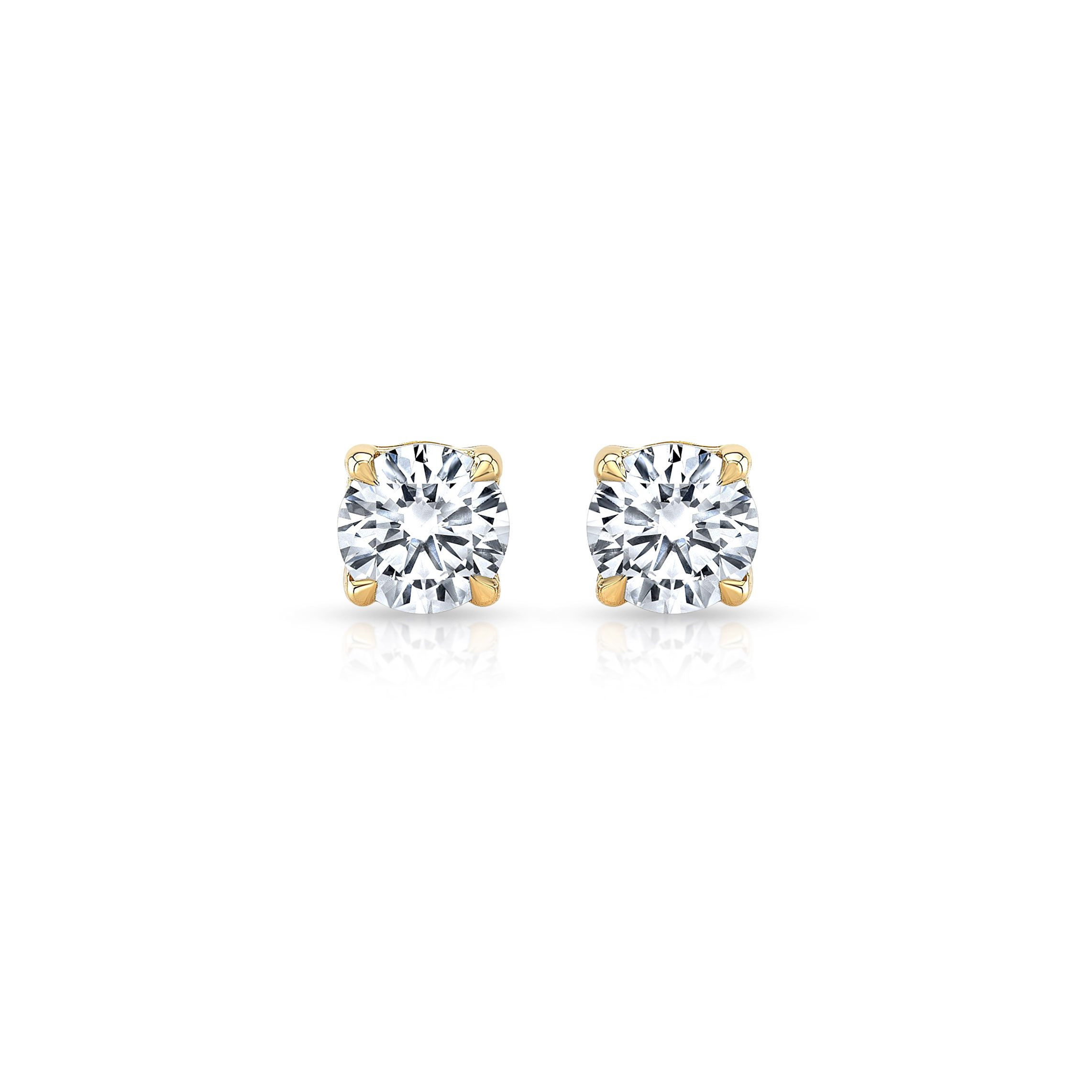 Carlie Round Brilliant Lab Grown Diamond Studs in Yellow Gold Product Shot from Oui by Jean Dousset