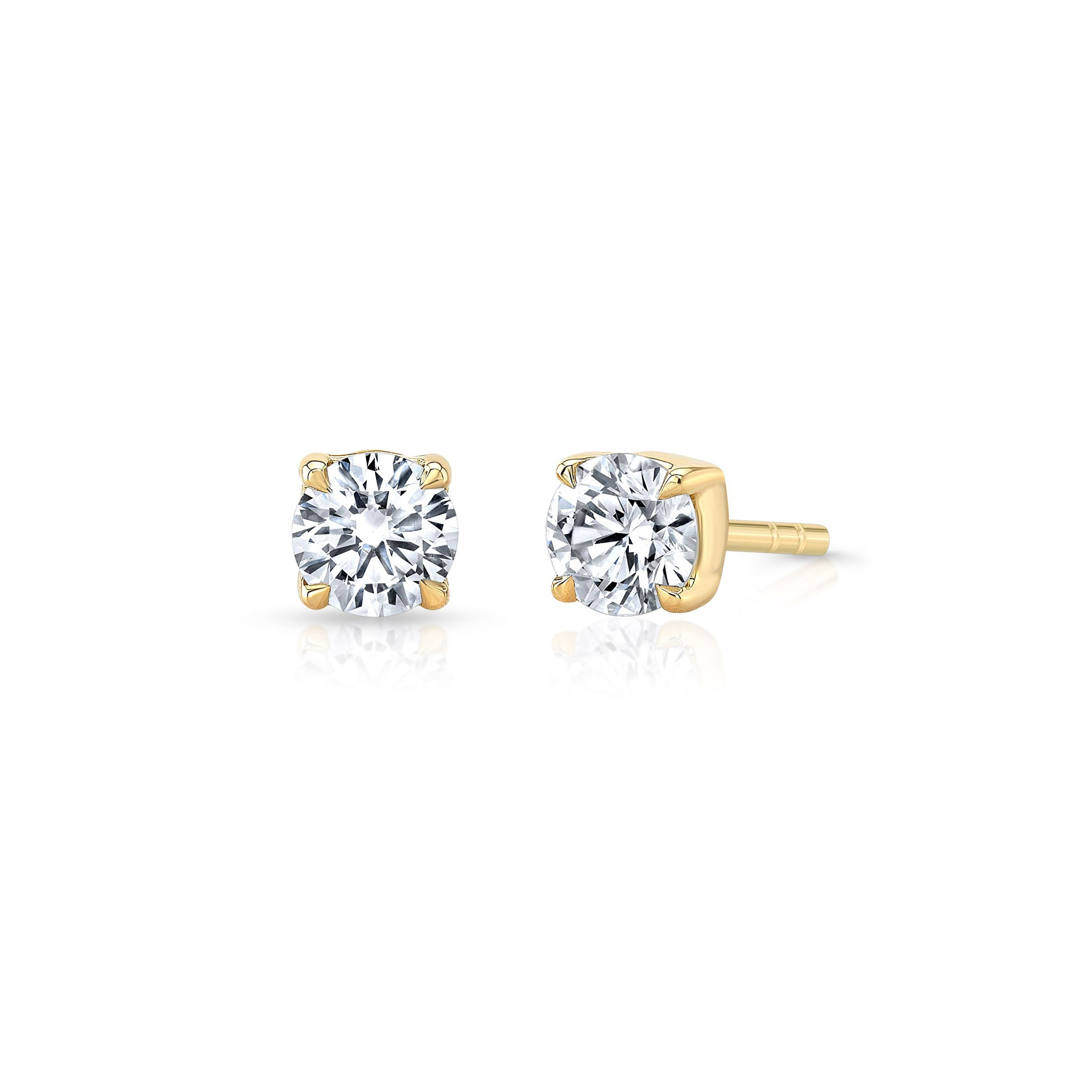 Carlie Round Brilliant Lab Grown Diamond Studs in Yellow Gold Product Shot of Side from Oui by Jean Dousset