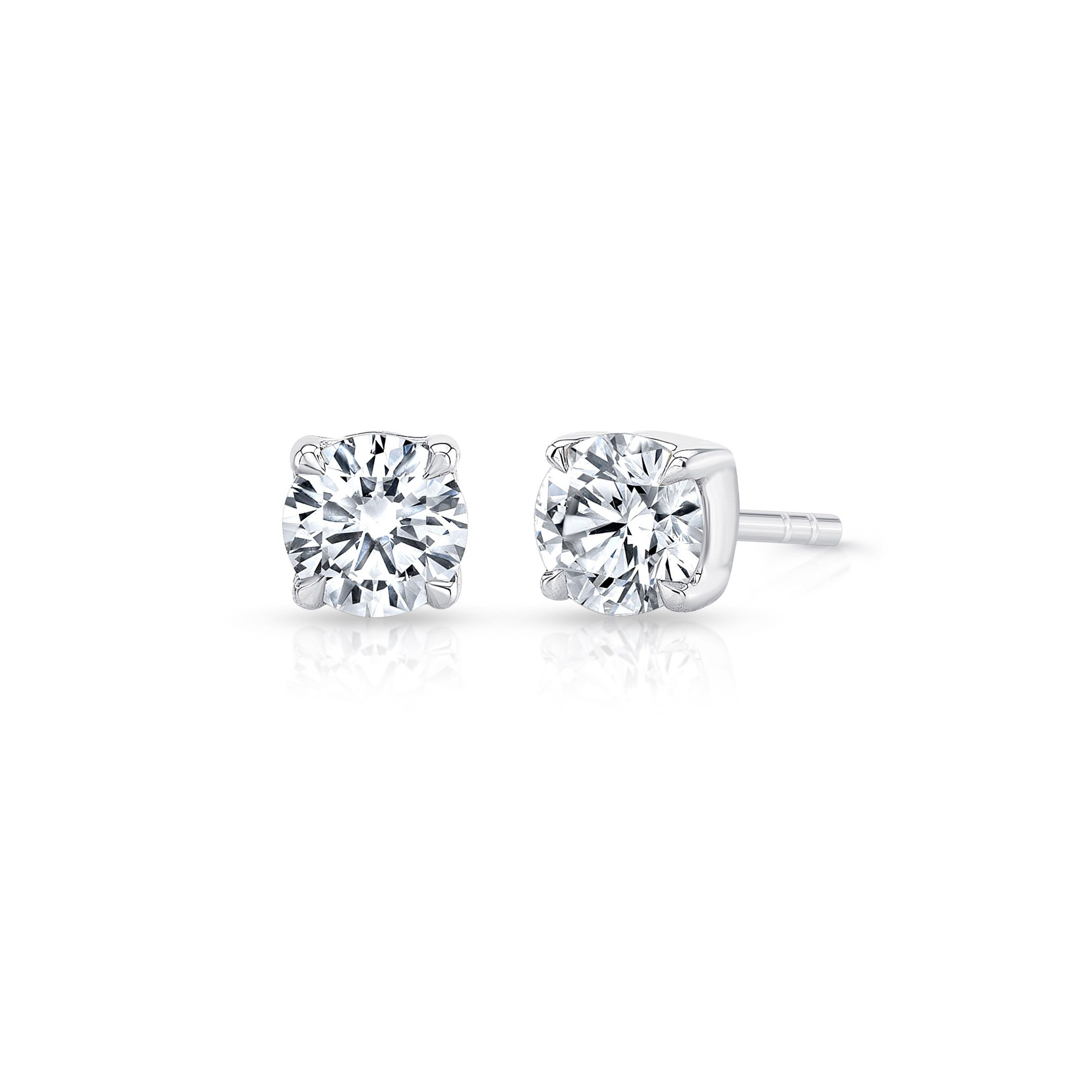 Carlie Round Brilliant Lab Grown Diamond Studs in White Gold Product Shot from Oui by Jean Dousset