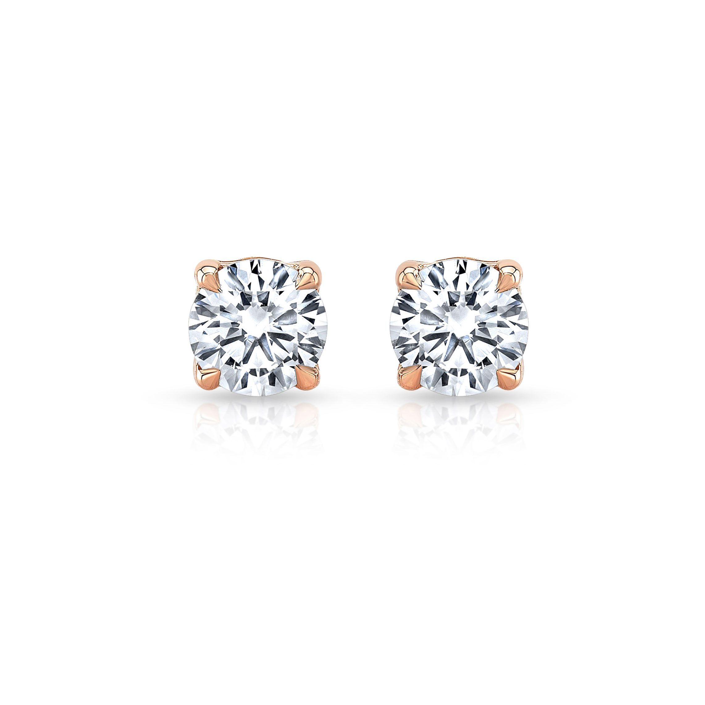 Carlie Round Brilliant Lab Grown Diamond Studs in Rose Gold Product Shot from Oui by Jean Dousset