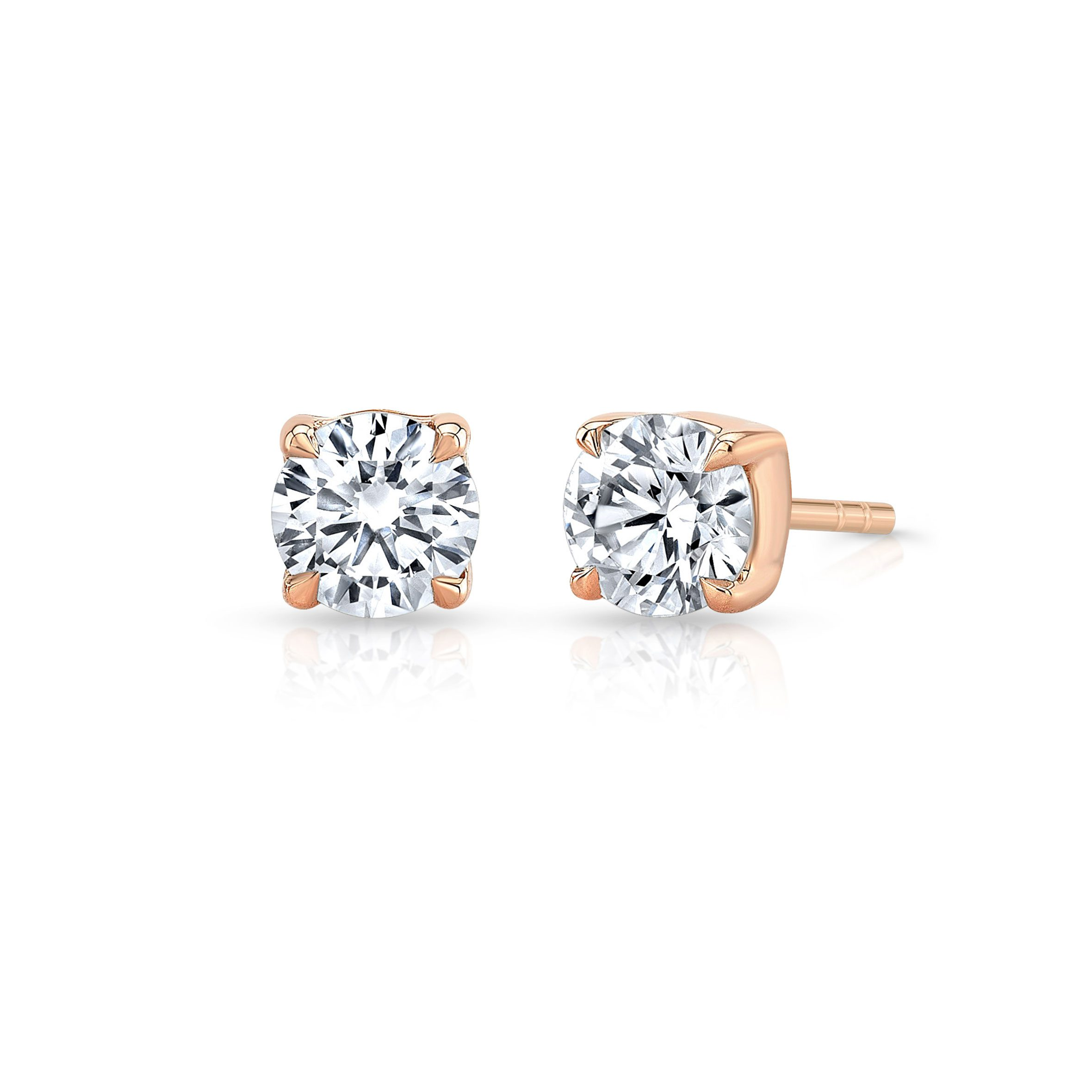 Carlie Round Brilliant Lab Grown Diamond Studs in Rose Gold Product Shot Side View from Oui by Jean Dousset