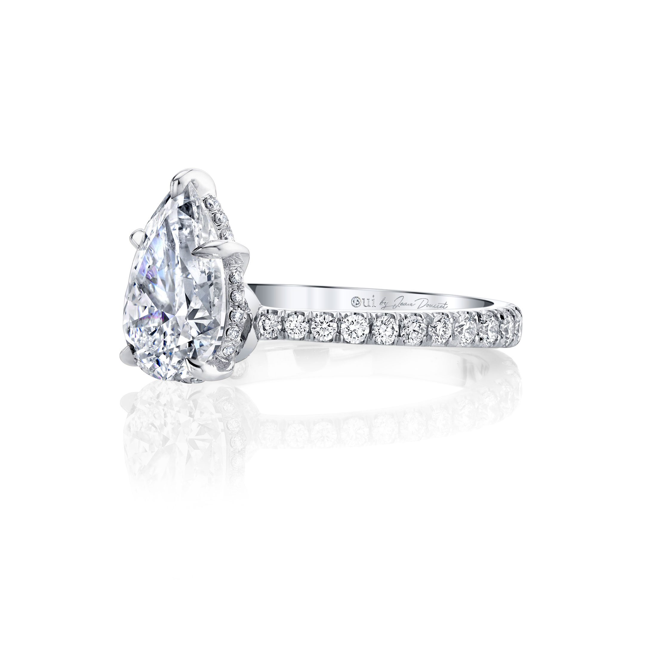 Eloise Solitaire Pear Cut Lab Grown Diamond Engagement Ring Side View with Pavé Band in White Gold Ring Side View