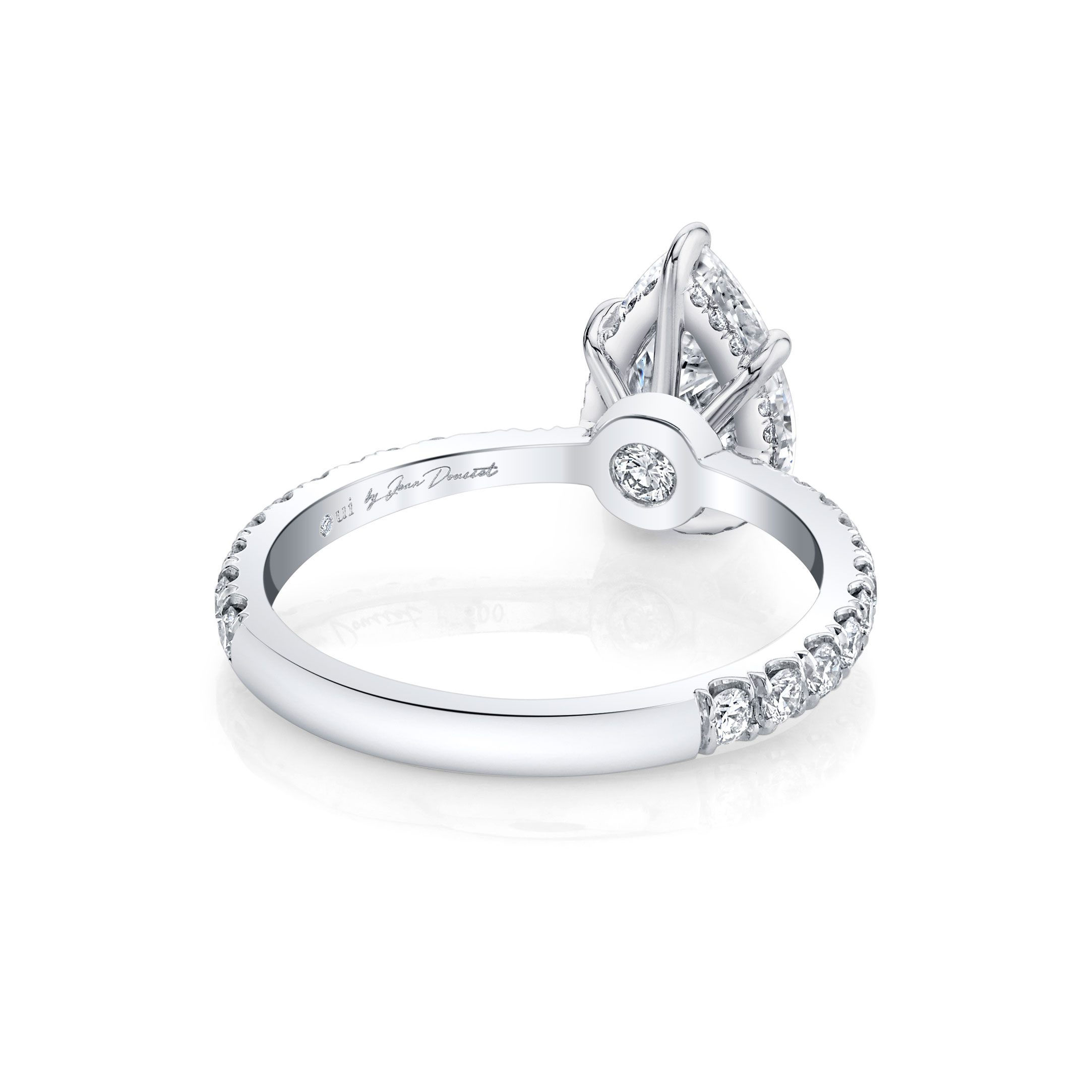 Eloise Solitaire Pear Cut Lab Grown Diamond Engagement Ring Side View with Pavé Band in 18k White Gold Ring Side View