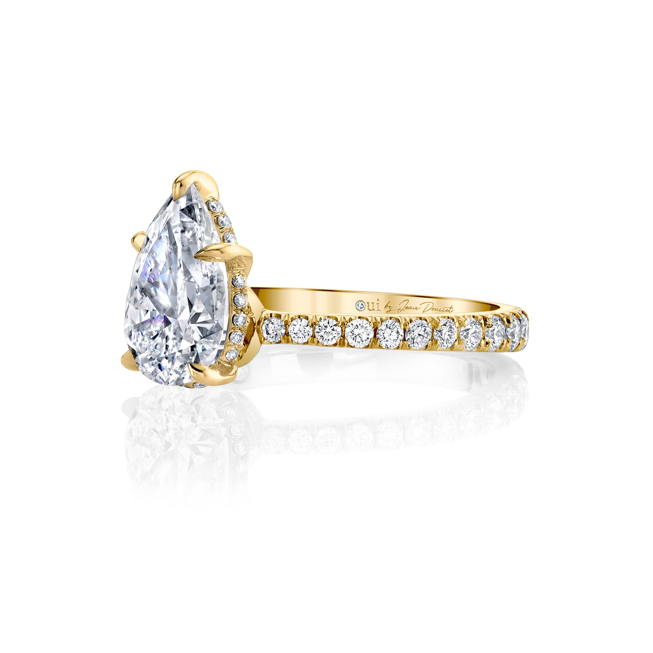 Eloise Solitaire Pear Cut Lab Grown Diamond Engagement Ring Side View with Pavé Band in 18k Yellow Gold Ring Side View