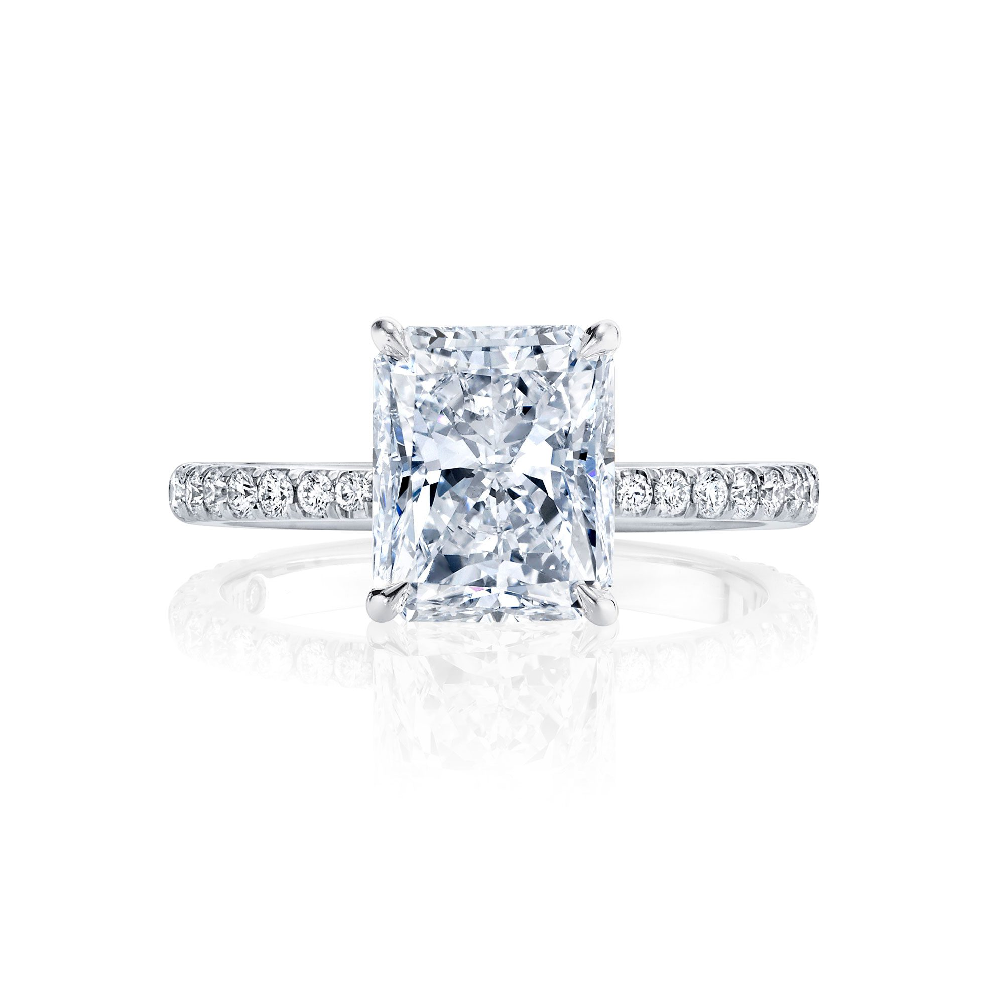 Eloise Solitaire Cushion Cut Lab Diamond Engagement Ring with Pavé Band in 18k White Gold