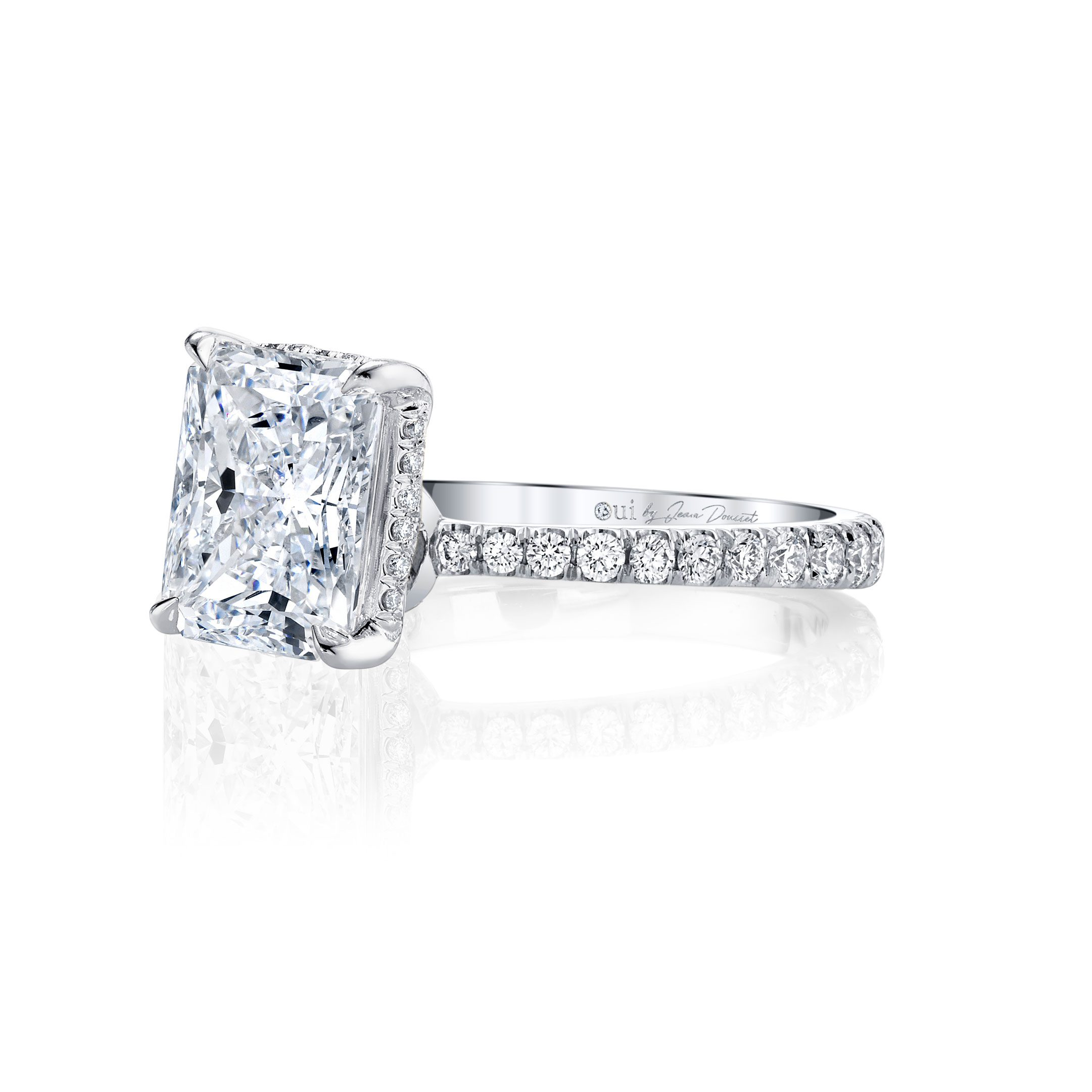 Eloise Solitaire Cushion Cut Lab Diamond Engagement Ring with Pavé Band in 18k White Gold. Ring side view.