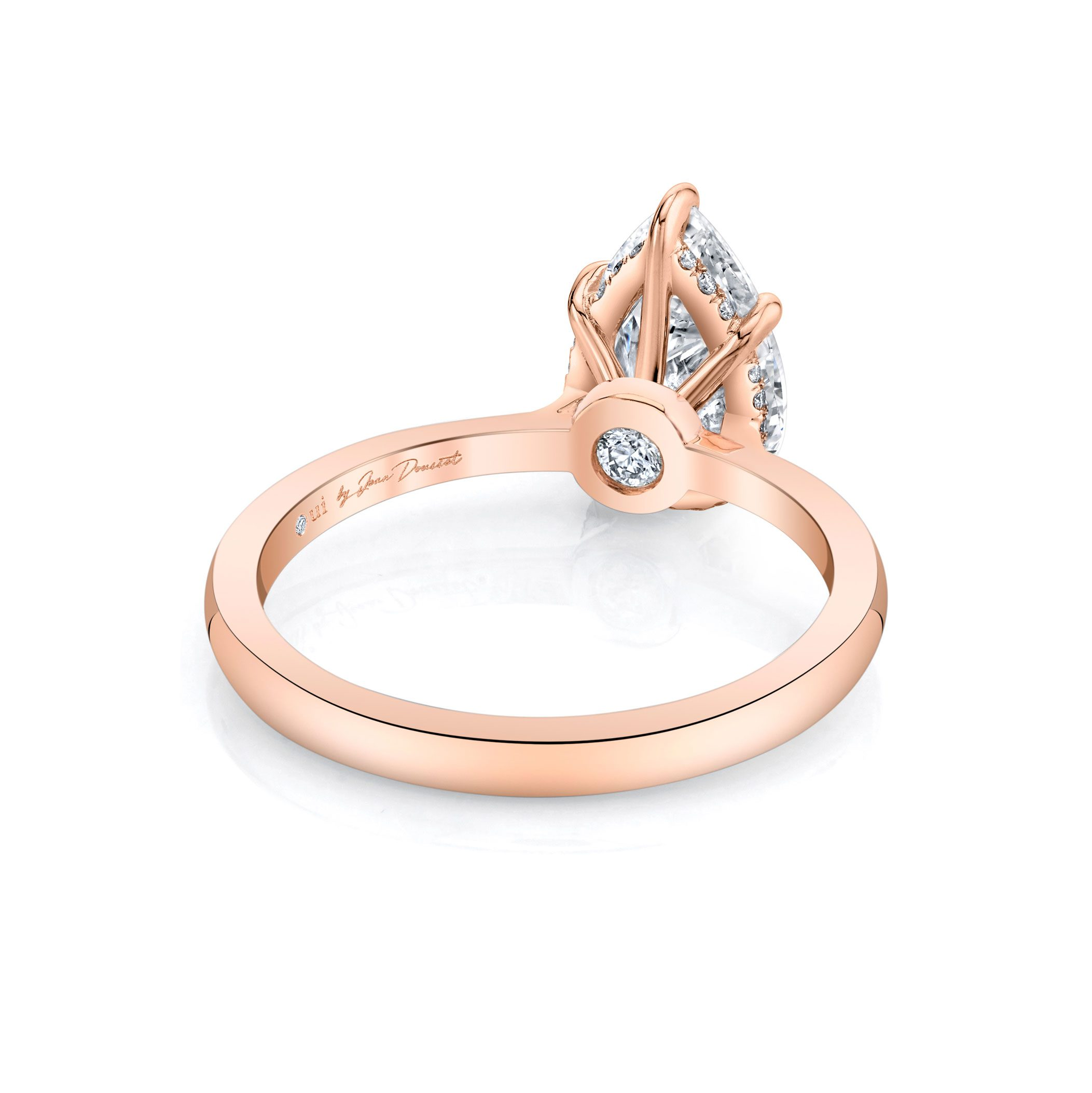 Colette Solitaire Pear Cut Lab Grown Diamond Engagement Ring in 18k Rose Gold solid band. Ring Side View.