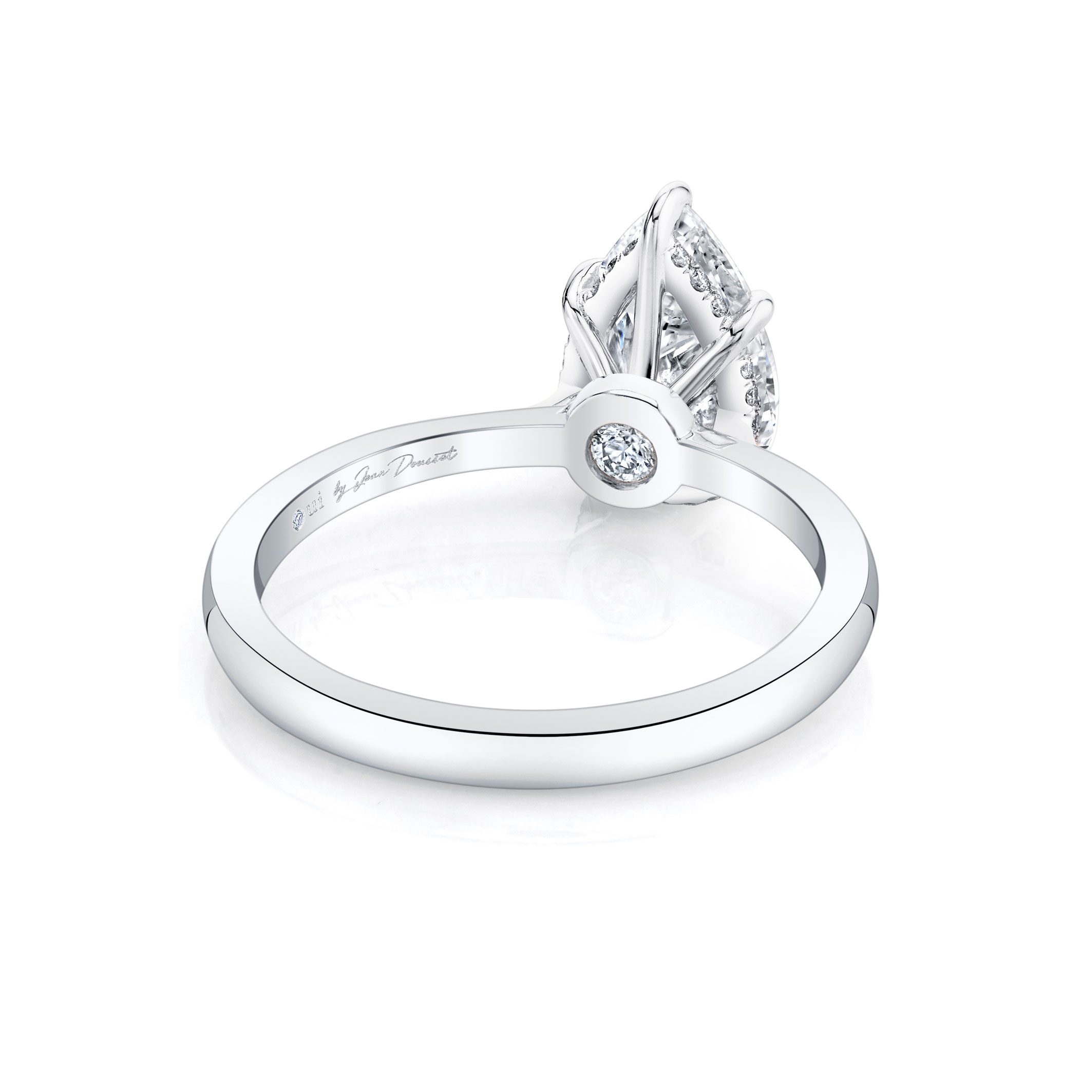 Colette Solitaire Pear Cut Lab Grown Diamond Engagement Ring in 18k white gold band. Ring Side View.