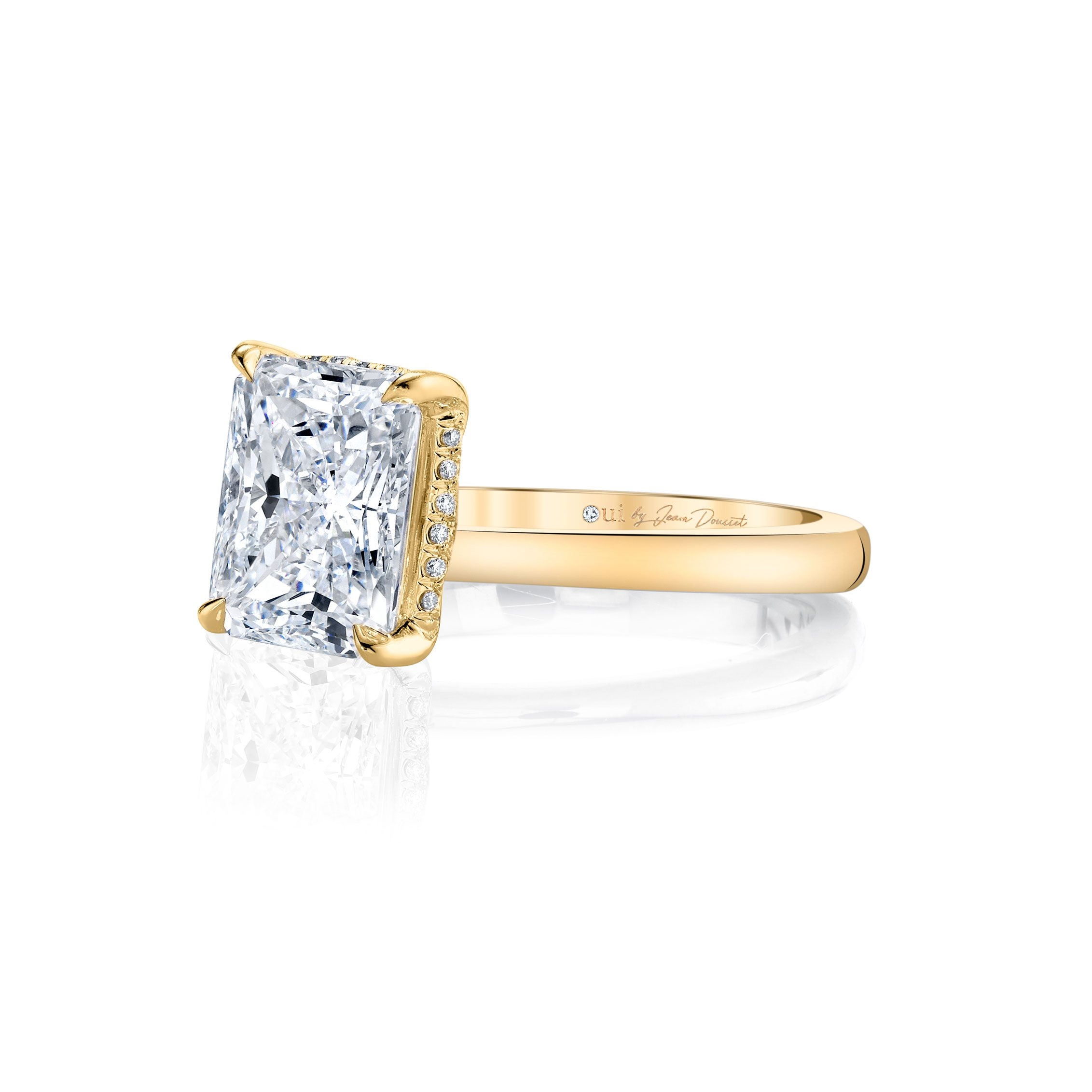 Colette Solitaire Radiant Cut Lab Grown Diamond Engagement Ring in 18k yellow gold band.