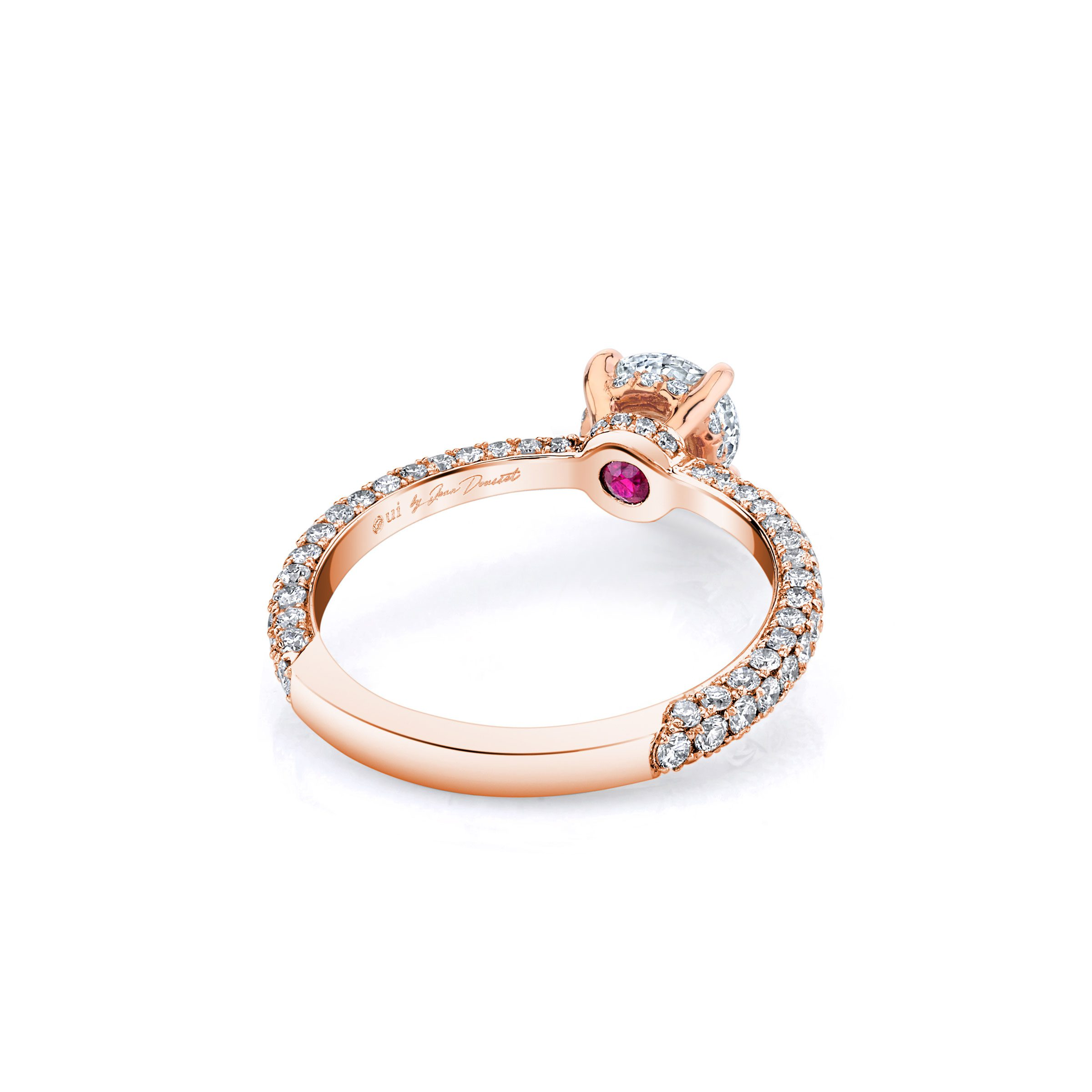 Jacqueline Solitaire Round Brilliant Cut Lab Diamond Engagement Ring with three row pavé 18k rose gold band.