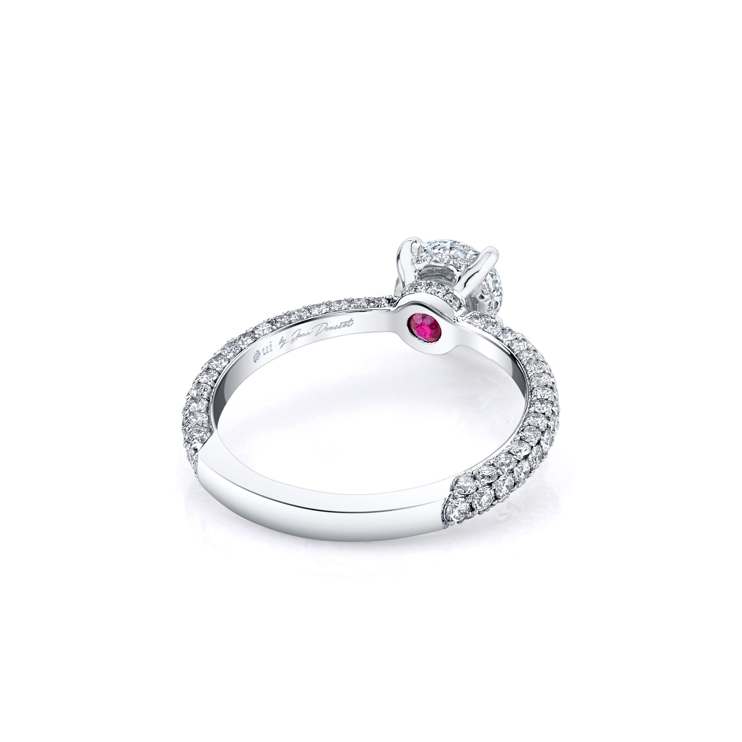 Jacqueline Solitaire Round Brilliant Cut Lab Diamond Engagement Ring with three row pavé 18k white gold band. Ring side view.