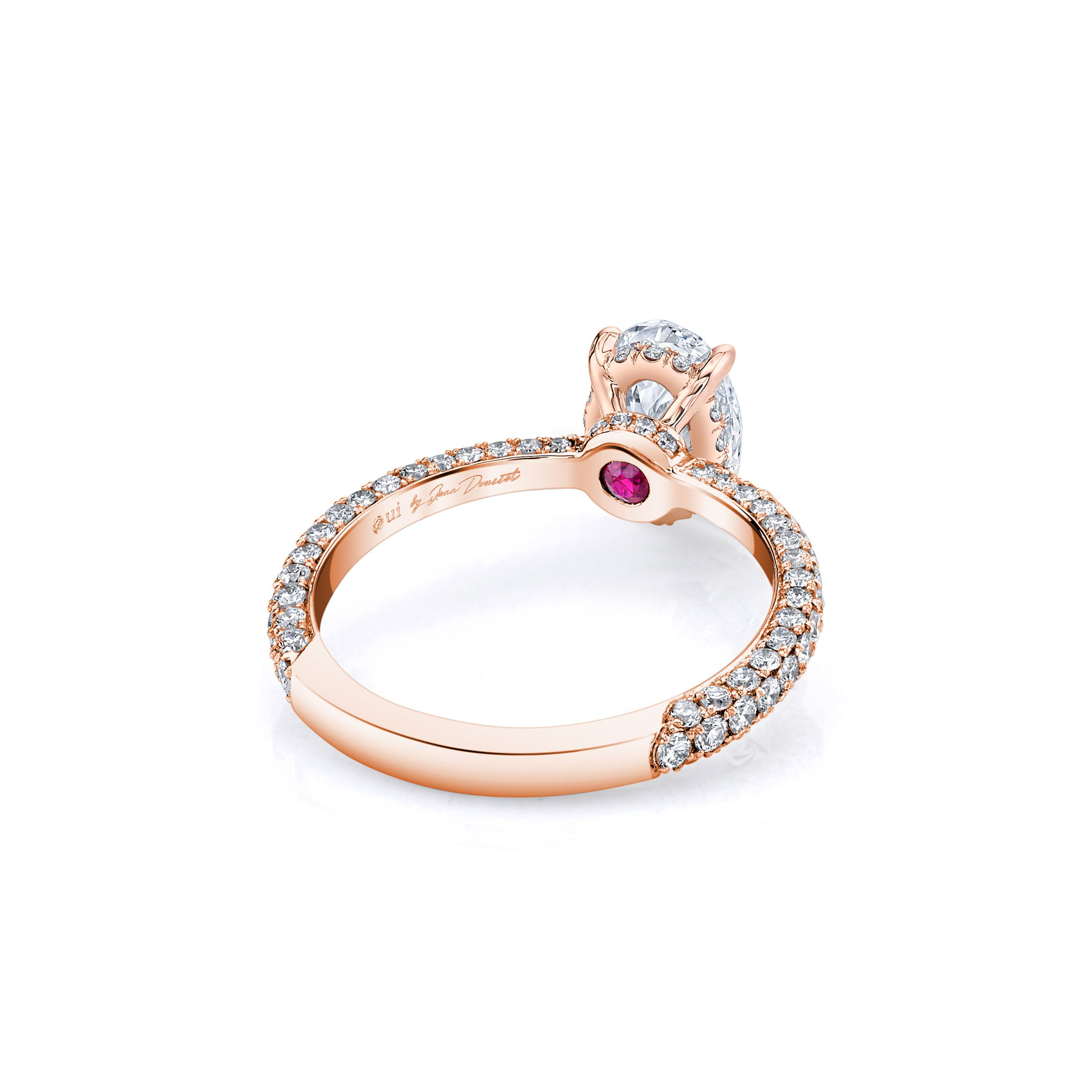 Jacqueline Solitaire Oval Cut Lab Diamond Engagement Ring with three row pavé 18k rose gold band. Ring side view.
