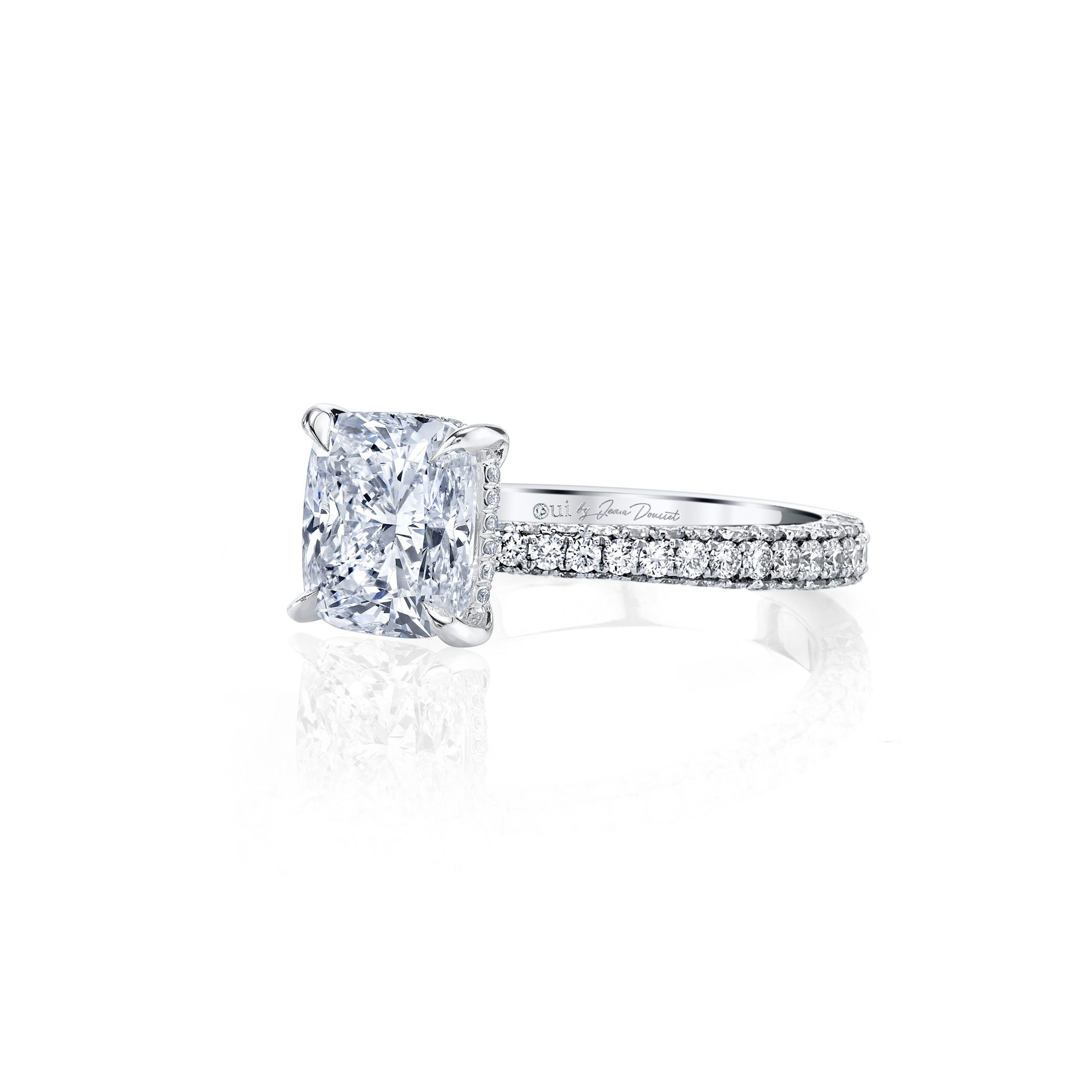 Jacqueline Cushion Cut Lab Grown Diamond Solitaire Engagement Ring Pavé White Gold Band from Oui