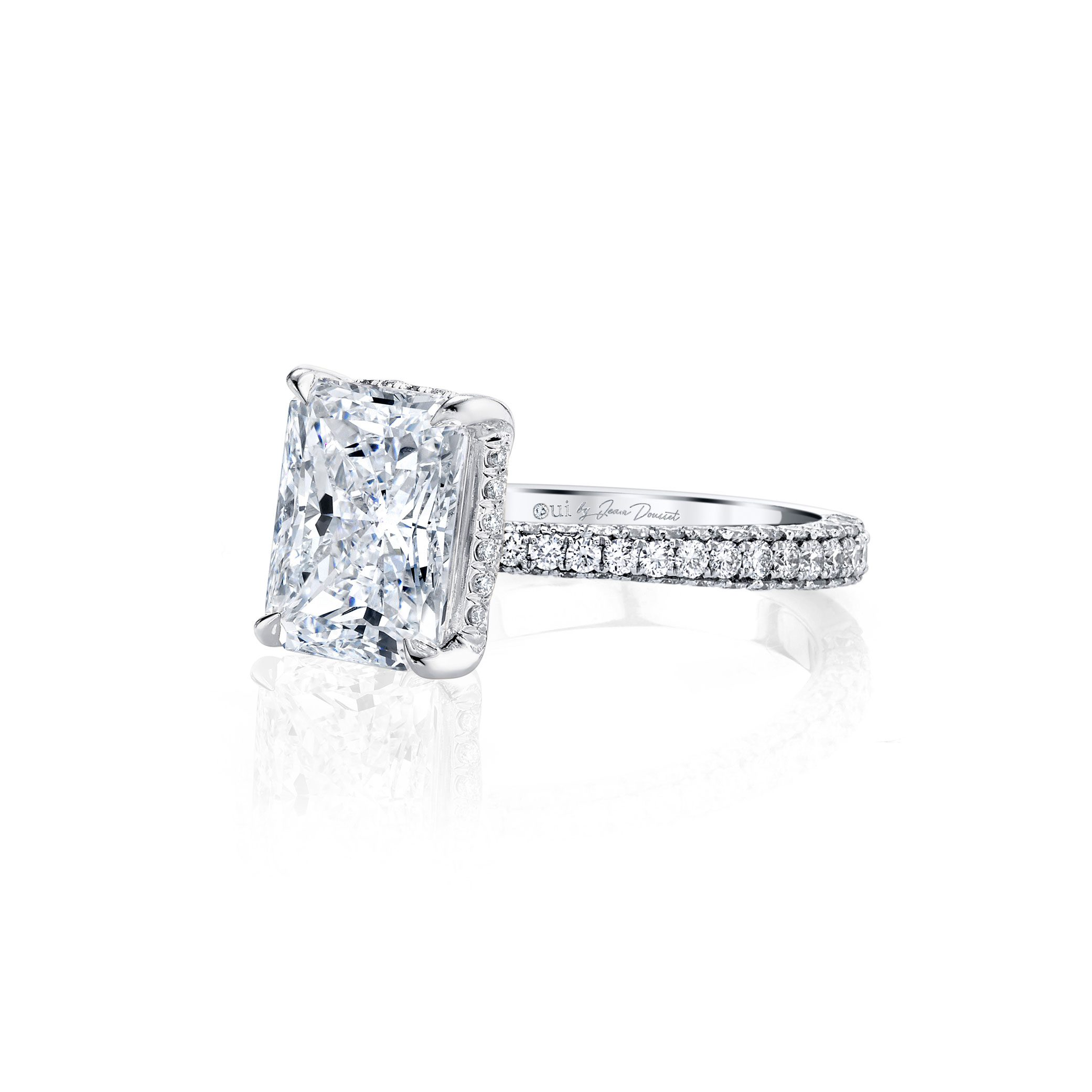 Jacqueline Radiant Cut Lab Grown Diamond Solitaire Engagement Ring Pavé White Gold Band from Oui