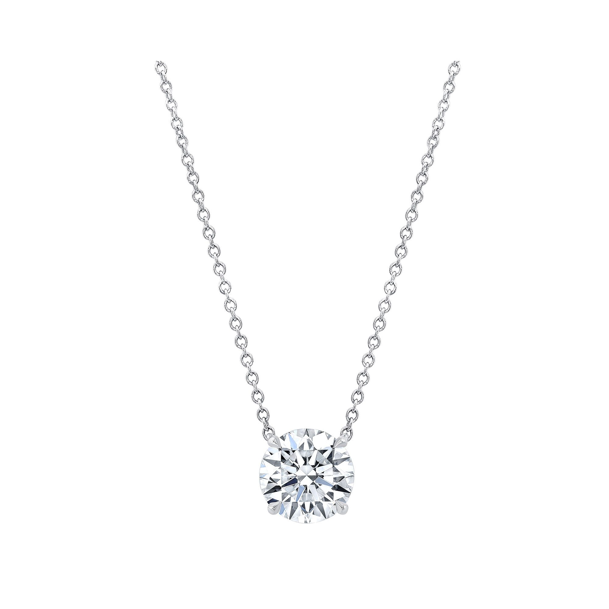Marie Round Brilliant 2.5 Carat Lab Grown Diamond Necklace Pendant in White Gold