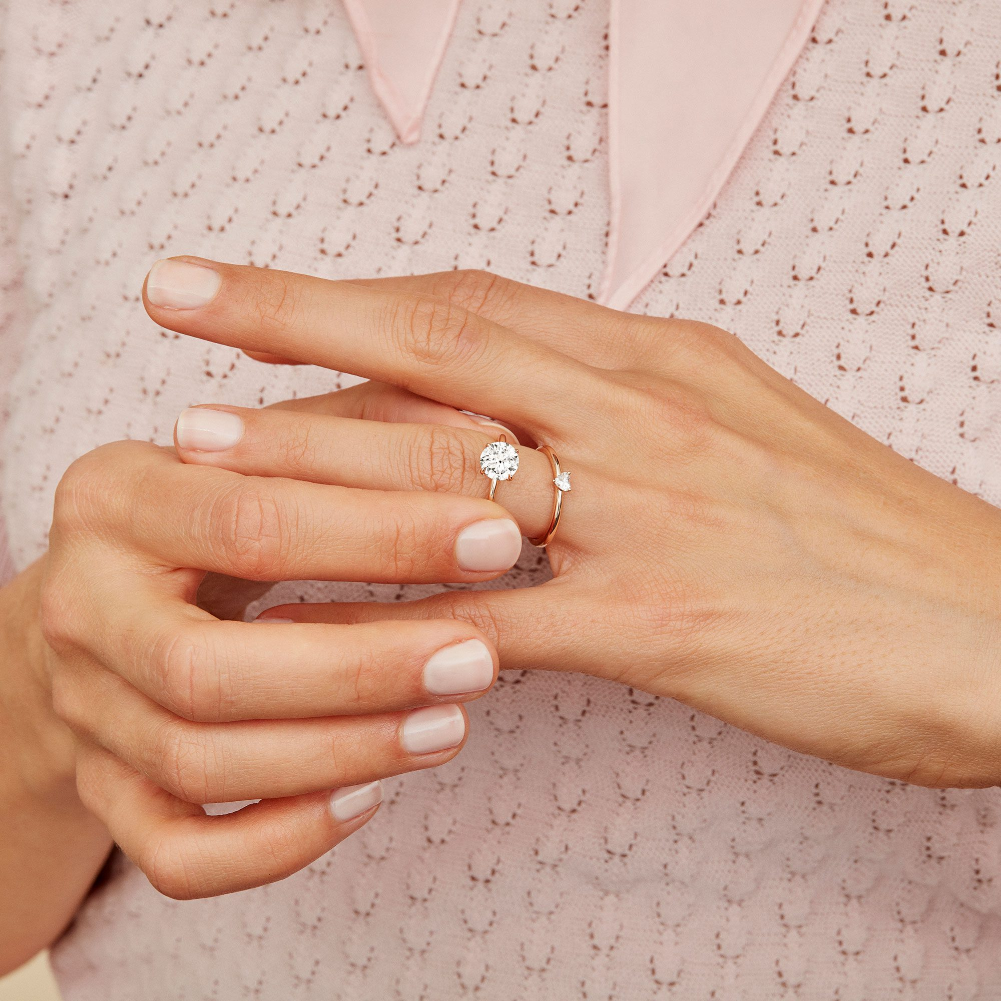 Perfect Duo Lab Grown Diamond Engagement Ring Wedding Ring Set on Hand from Oui by Jean Dousset