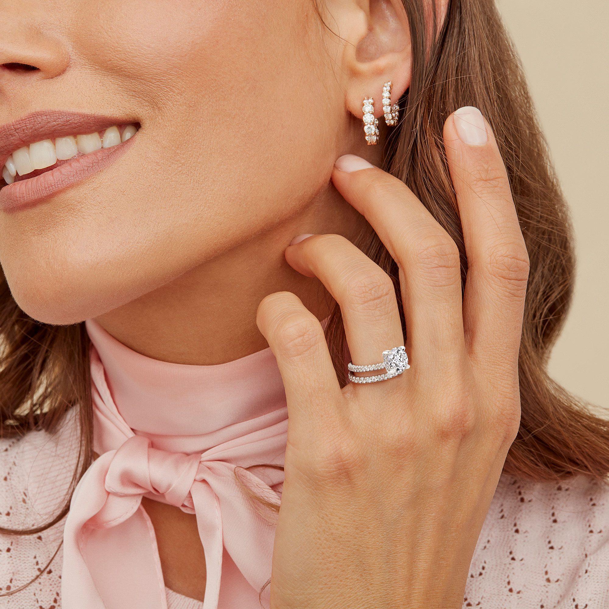 Jacqueline Round Brilliant Lab Grown Diamond Ring on Hand Model
