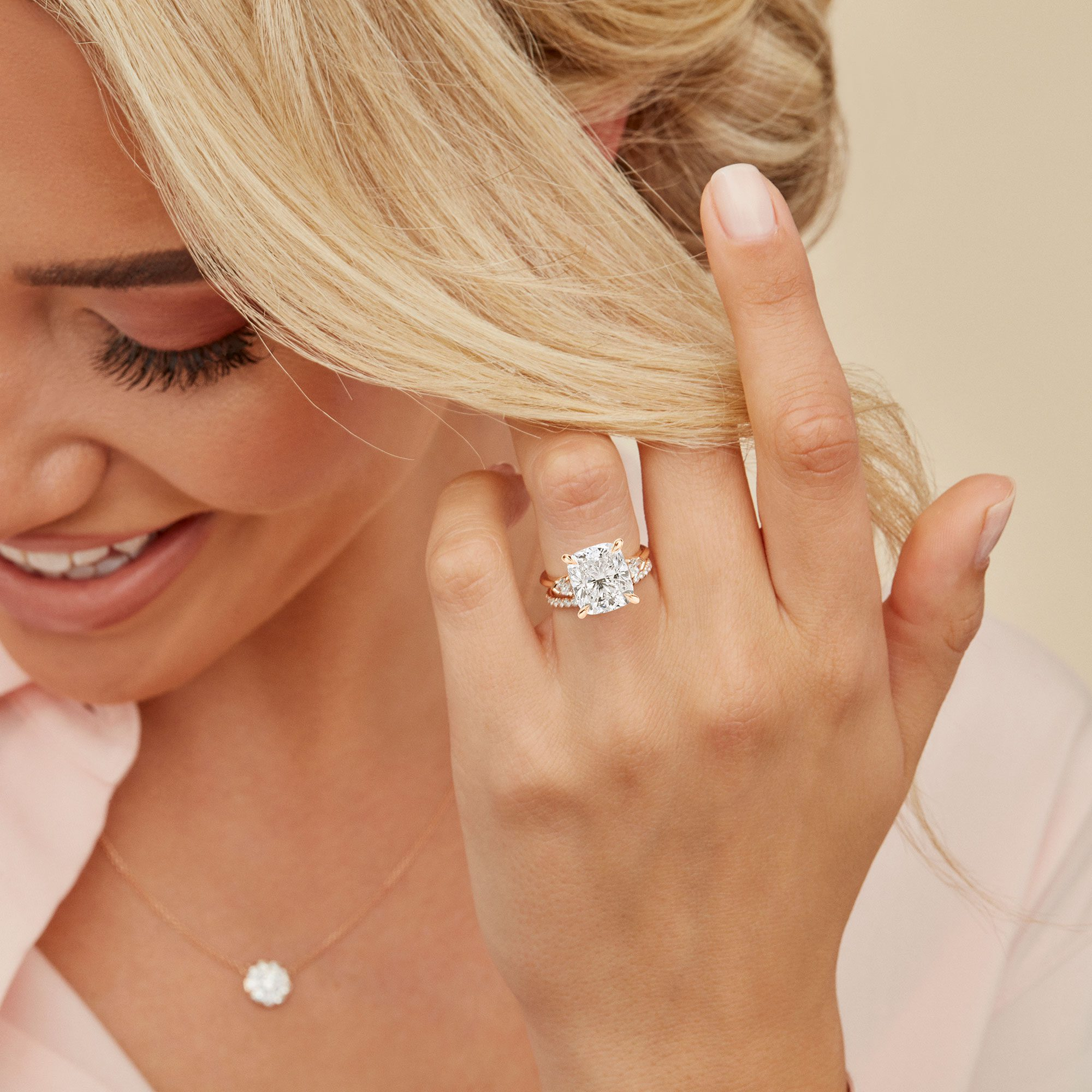 Claire Three Stone Cushion Cut Lab Grown Diamond Engagement Ring on Hand from Oui