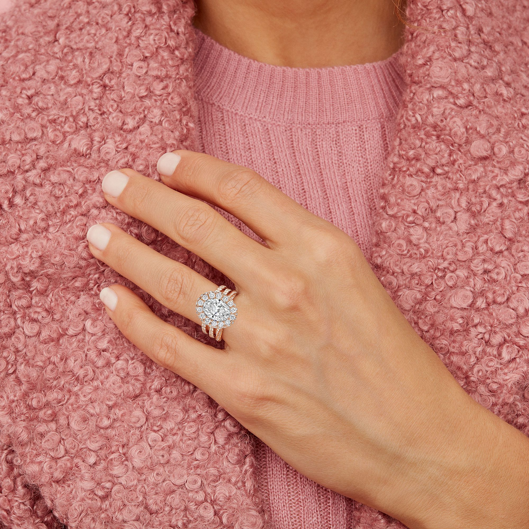 Eloise Oval Lab Grown Diamond Ring on Hand Model by Oui