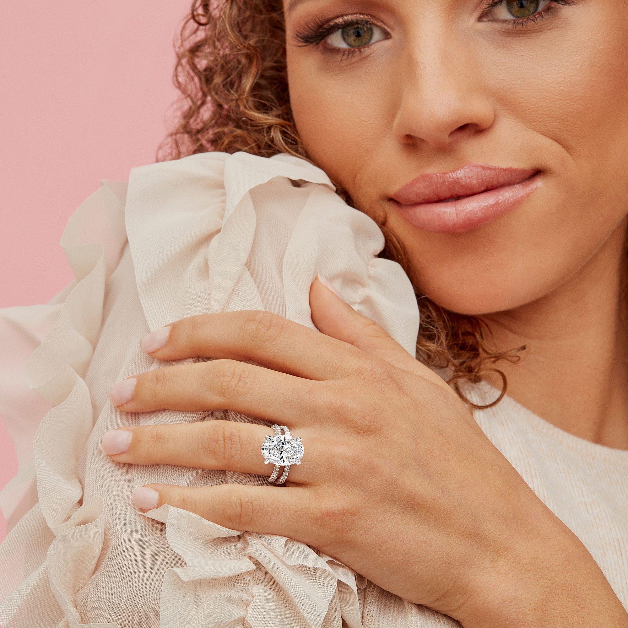 Jacqueline Oval Lab Grown Diamond Ring on Hand Model