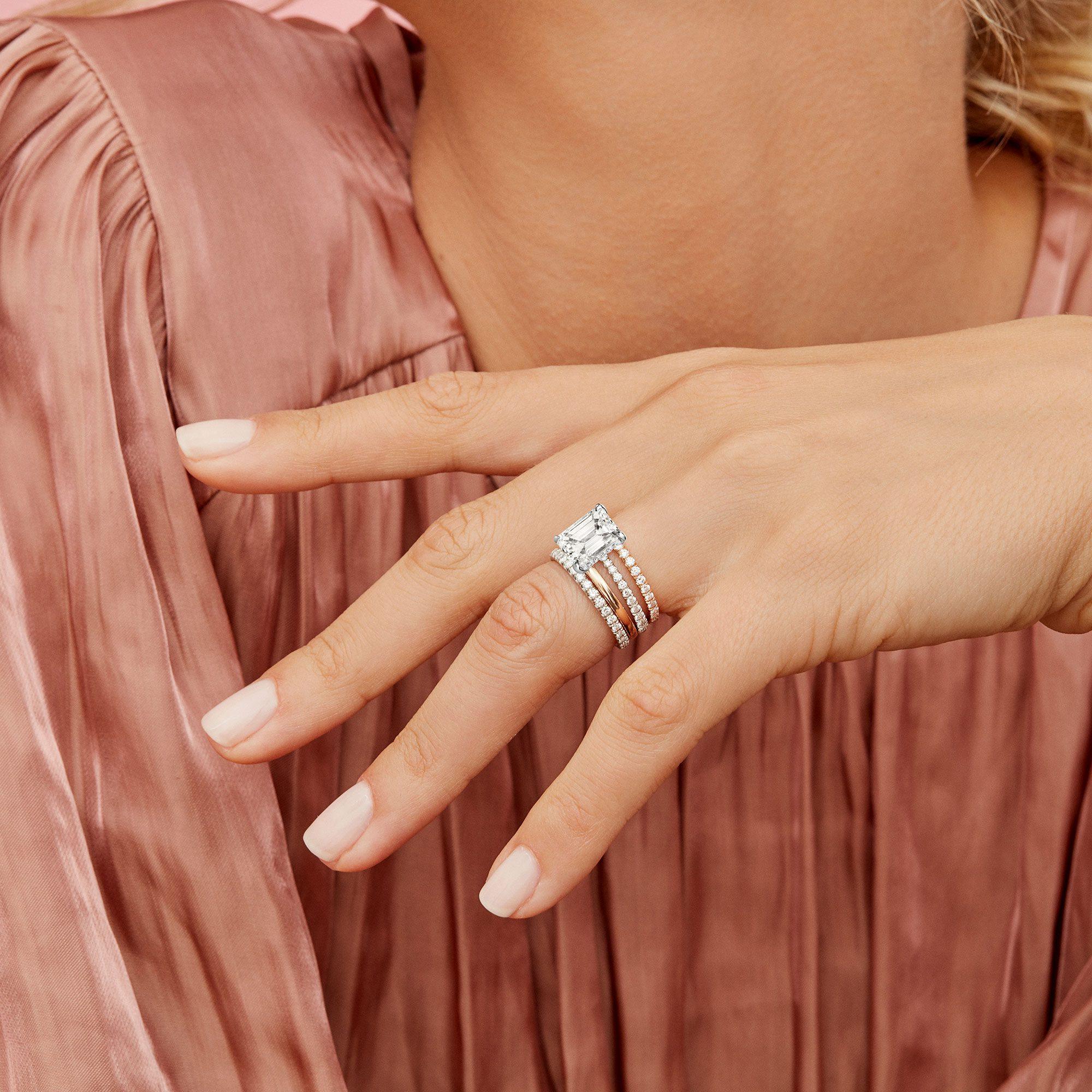 Eloise Emerald Lab Grown Diamond Ring on Hand Model