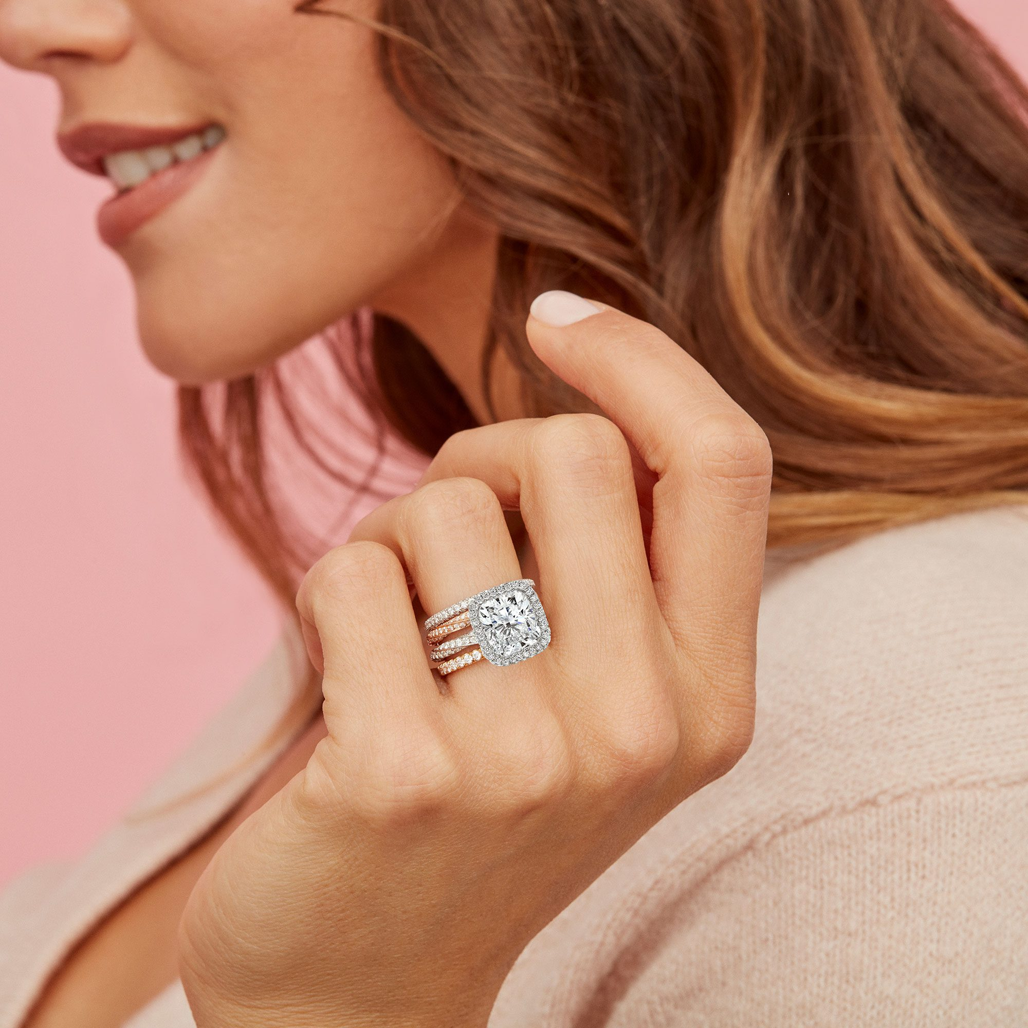 Camille Halo Lab Grown Cushion Diamond Ring on Hand Model by Oui